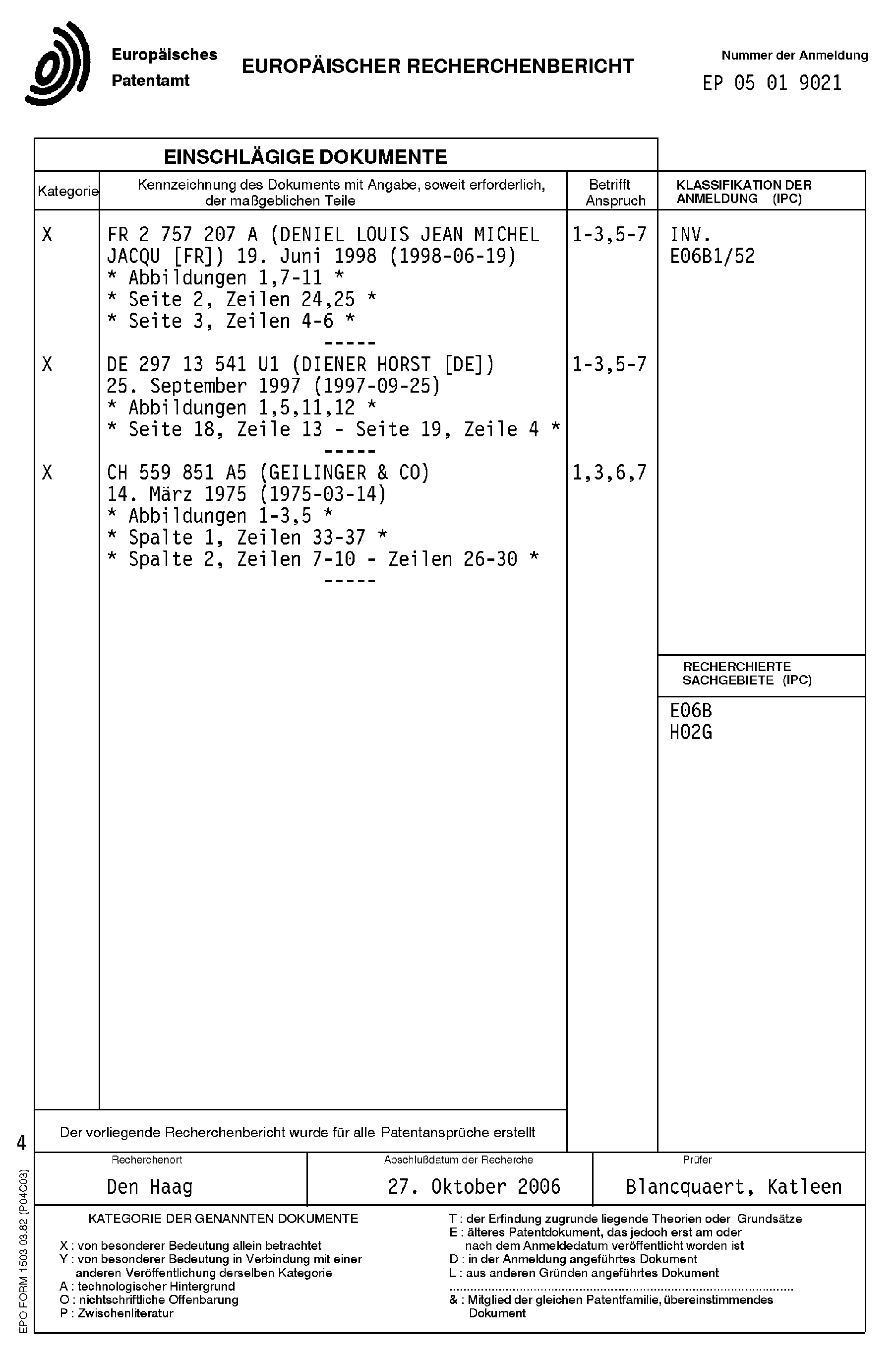 Patent EP1632635A3 - Türzarge - Google Patents