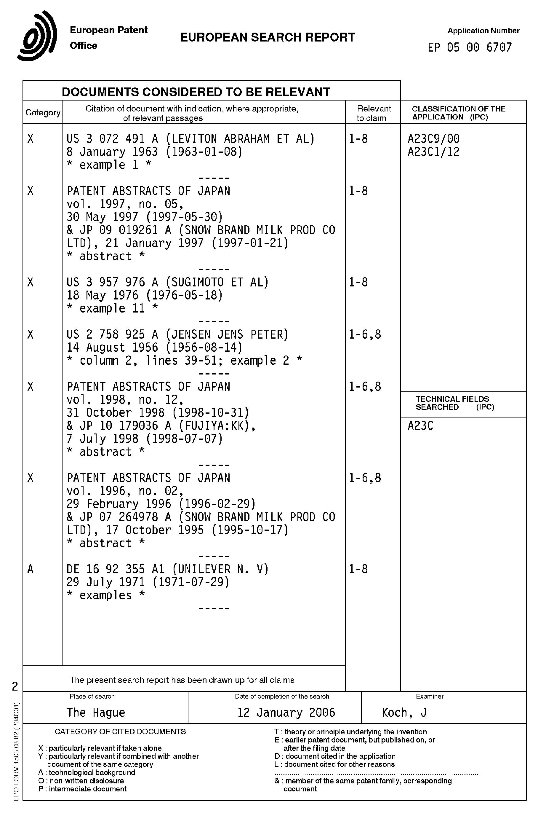 Patent EP1707056A1 - Haltbare Kondensmilch mit vermindertem ...