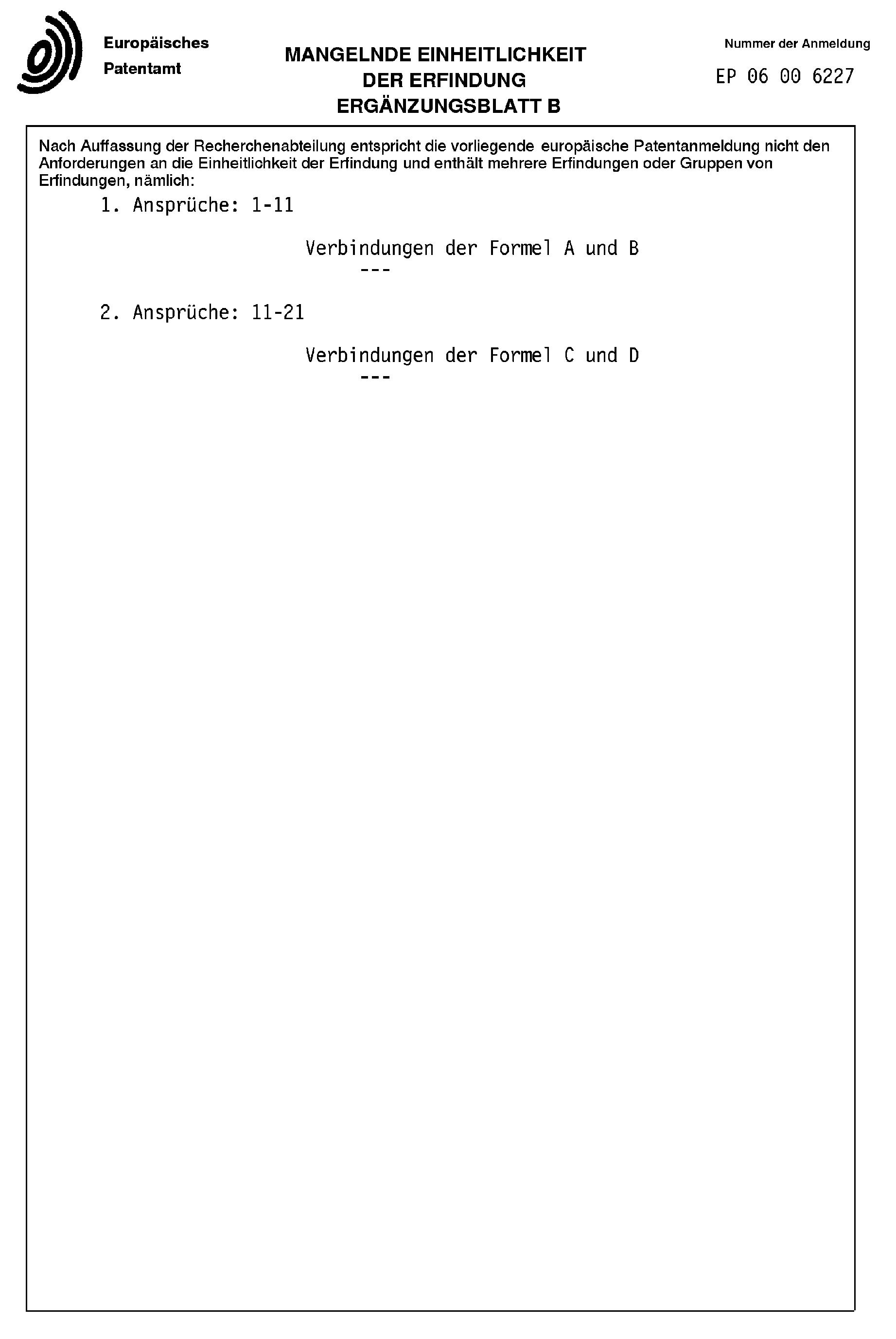 Patent EP1840120A1 - N-Heterozyklische Verbindungen und deren ...