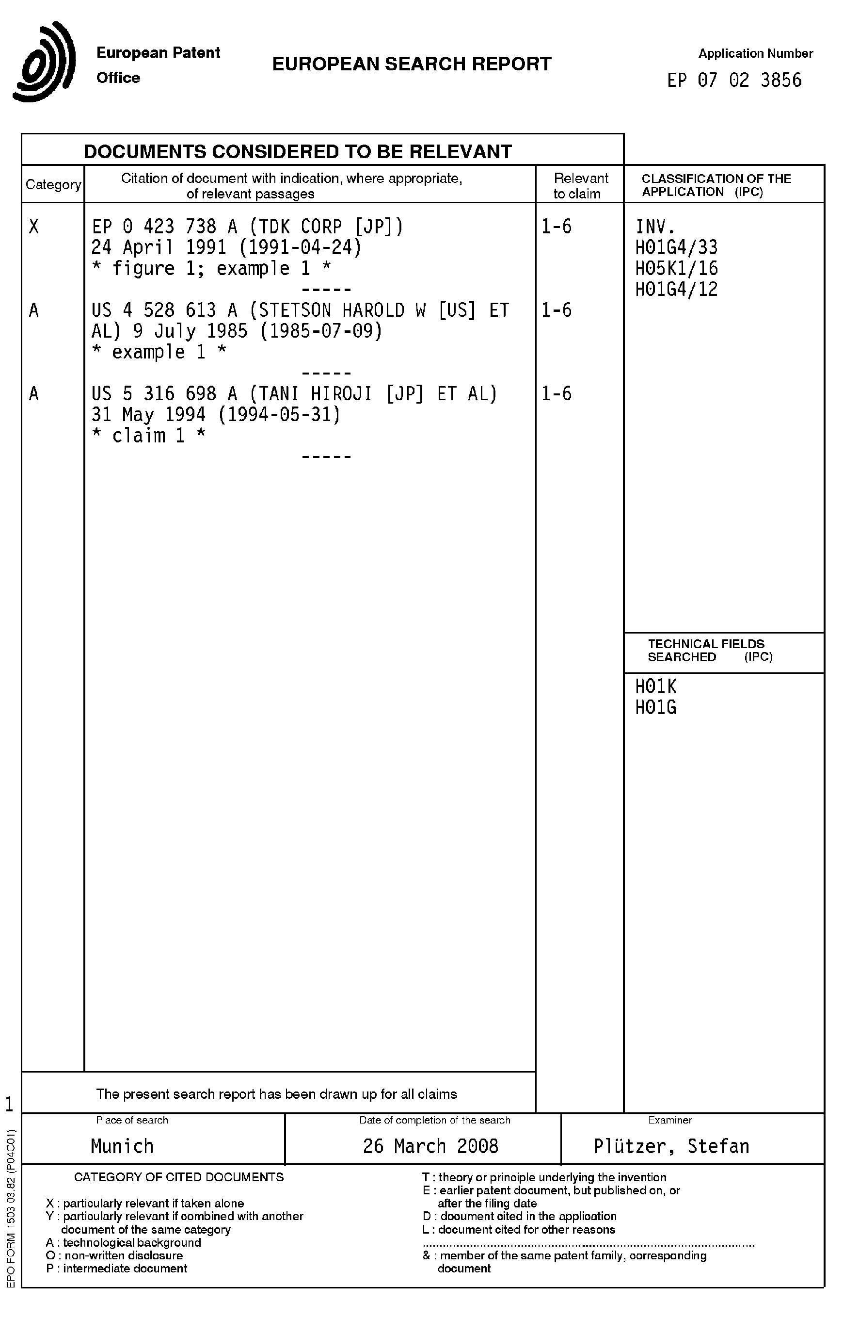 Patent EP1956616A1 - Methods of making high capacitance