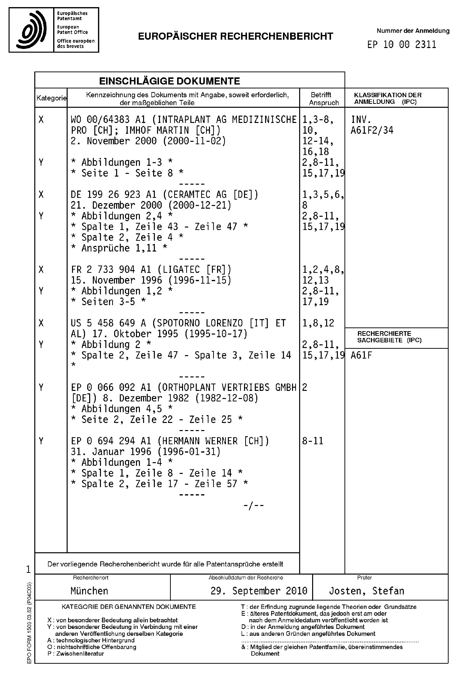 Patent EP2248487A1 - Modulare elastische Gelenkpfanne - Google Patents