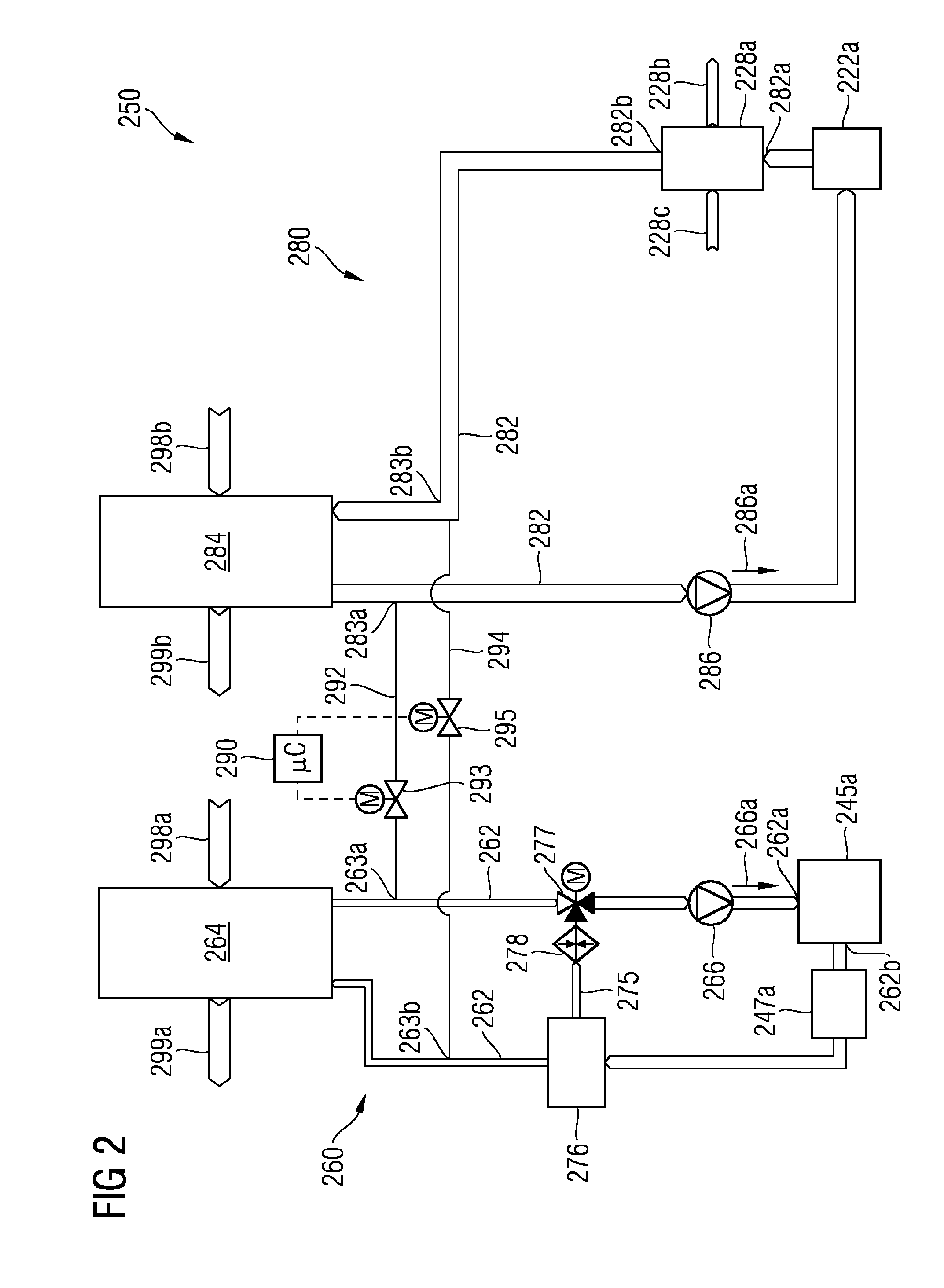 Patent EP A1 Cooling system with two bridged cooling