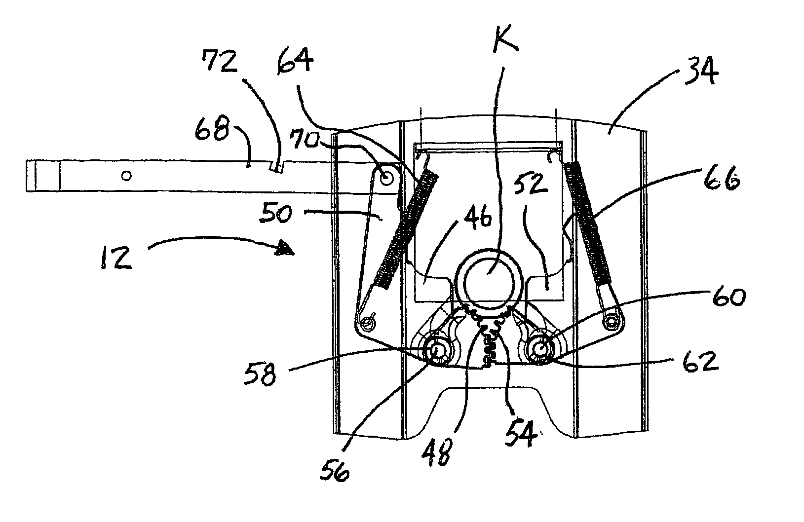 patent us20030015855 - fifth wheel hitch assembly with improved jaw mechanism