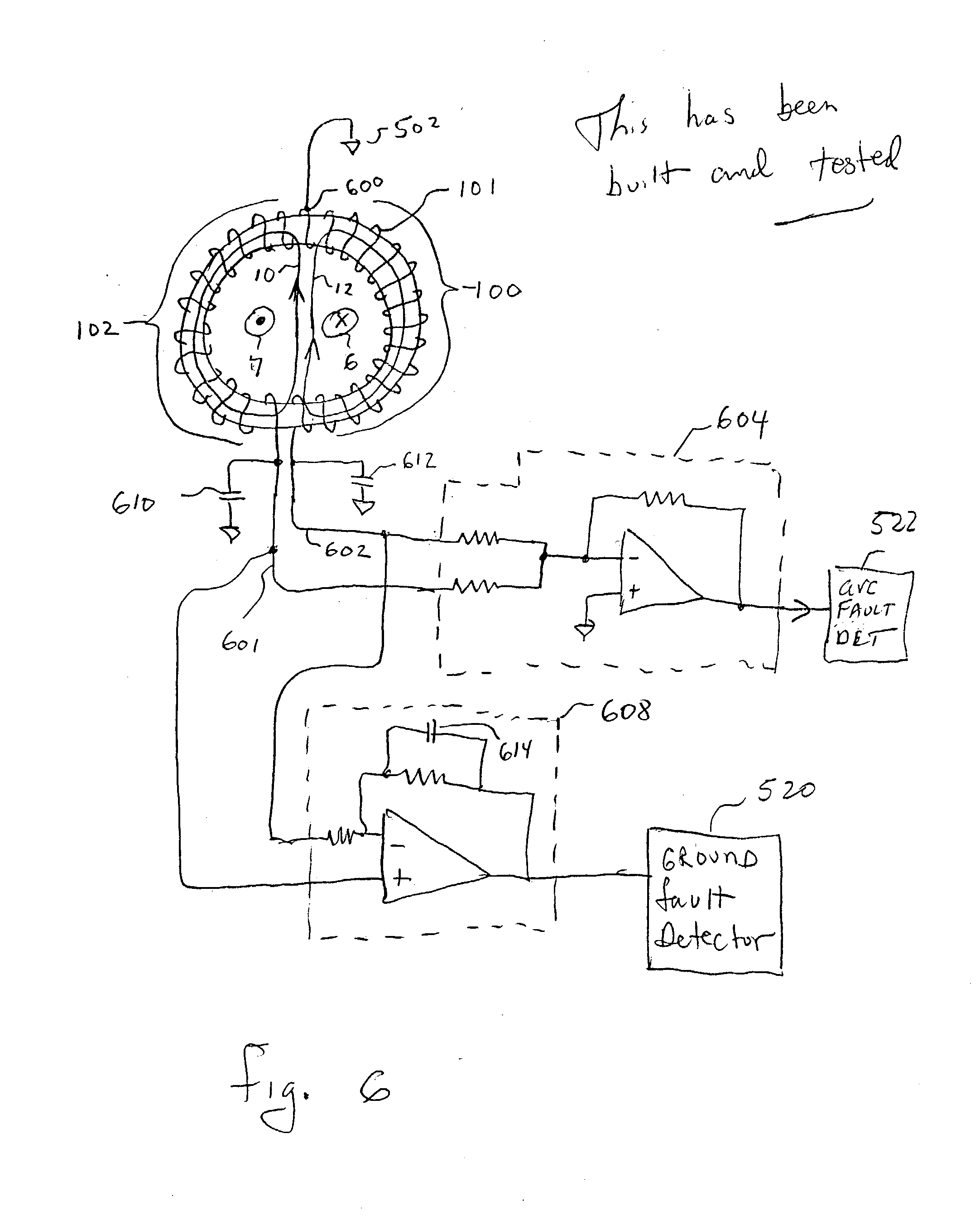 patent us20030058596 two winding resonating arc fault sensor which Hunter Ceiling Fan Wiring Diagram patent drawing