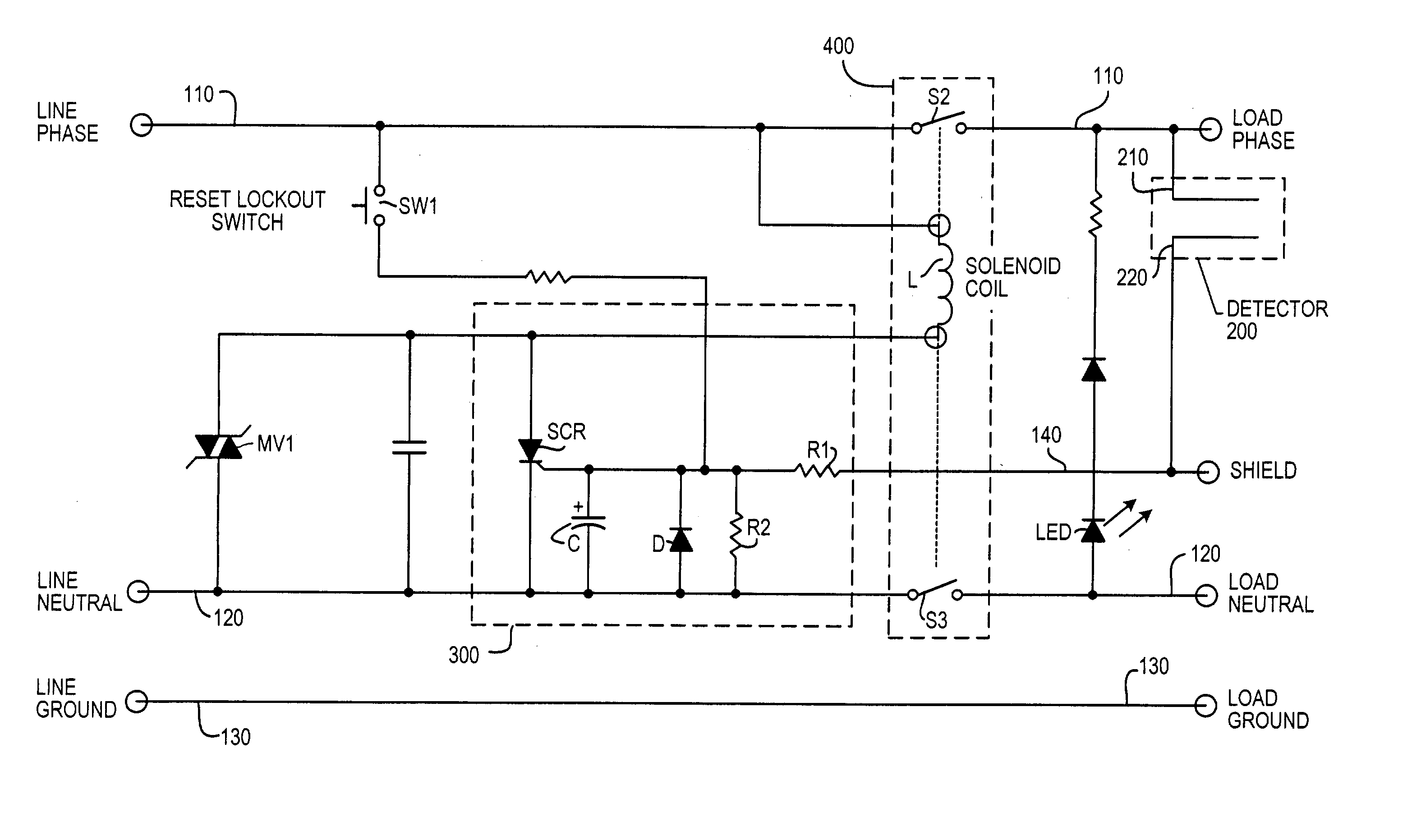 Patent Us20040070895 Leakage Current Detection Interrupter Optical Circuit Drawing