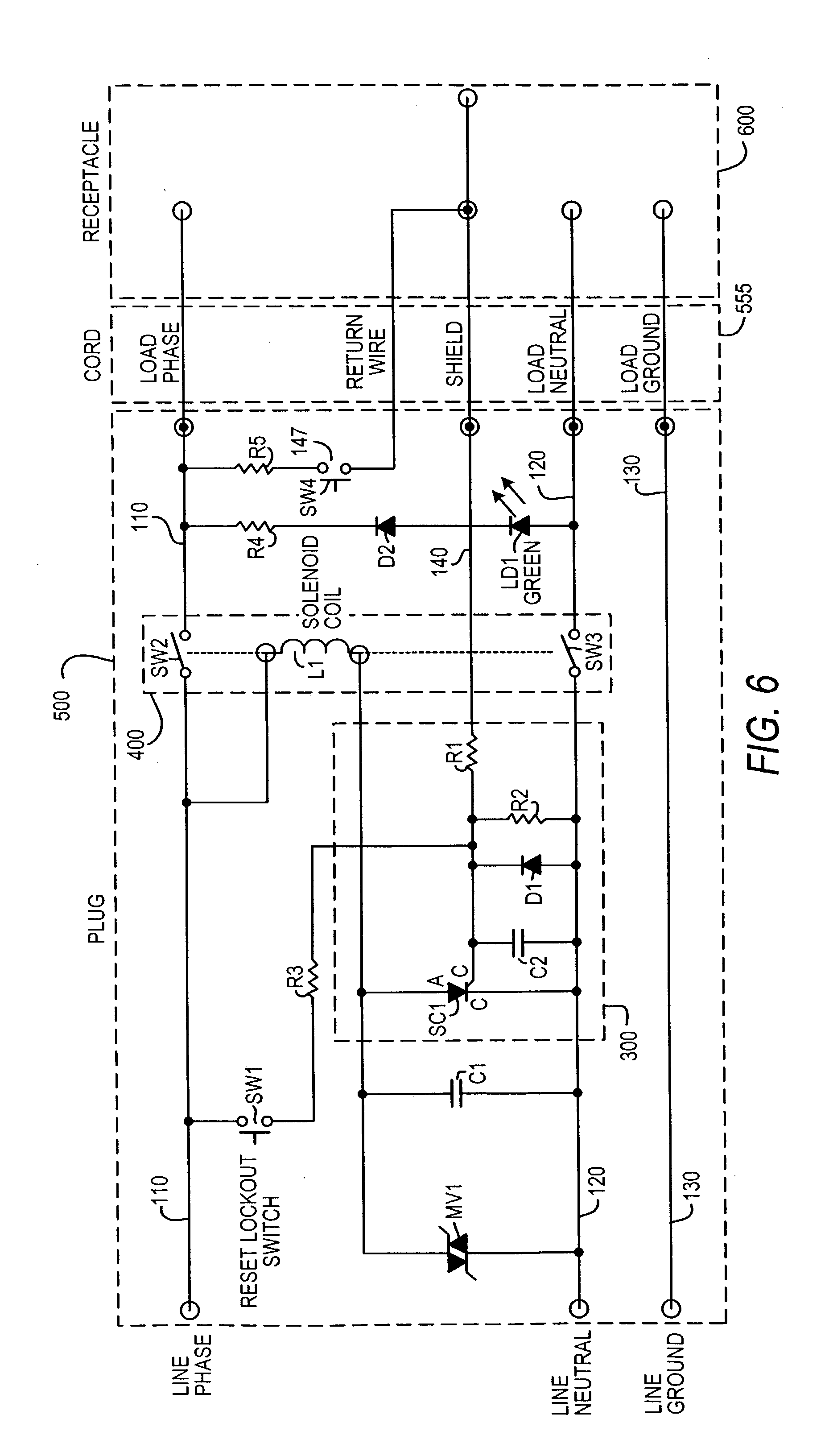 Patent Us20040070895 Leakage Current Detection Interrupter Circuit Ac Line Powered Led Pilot Light Circuits Designed By David Drawing