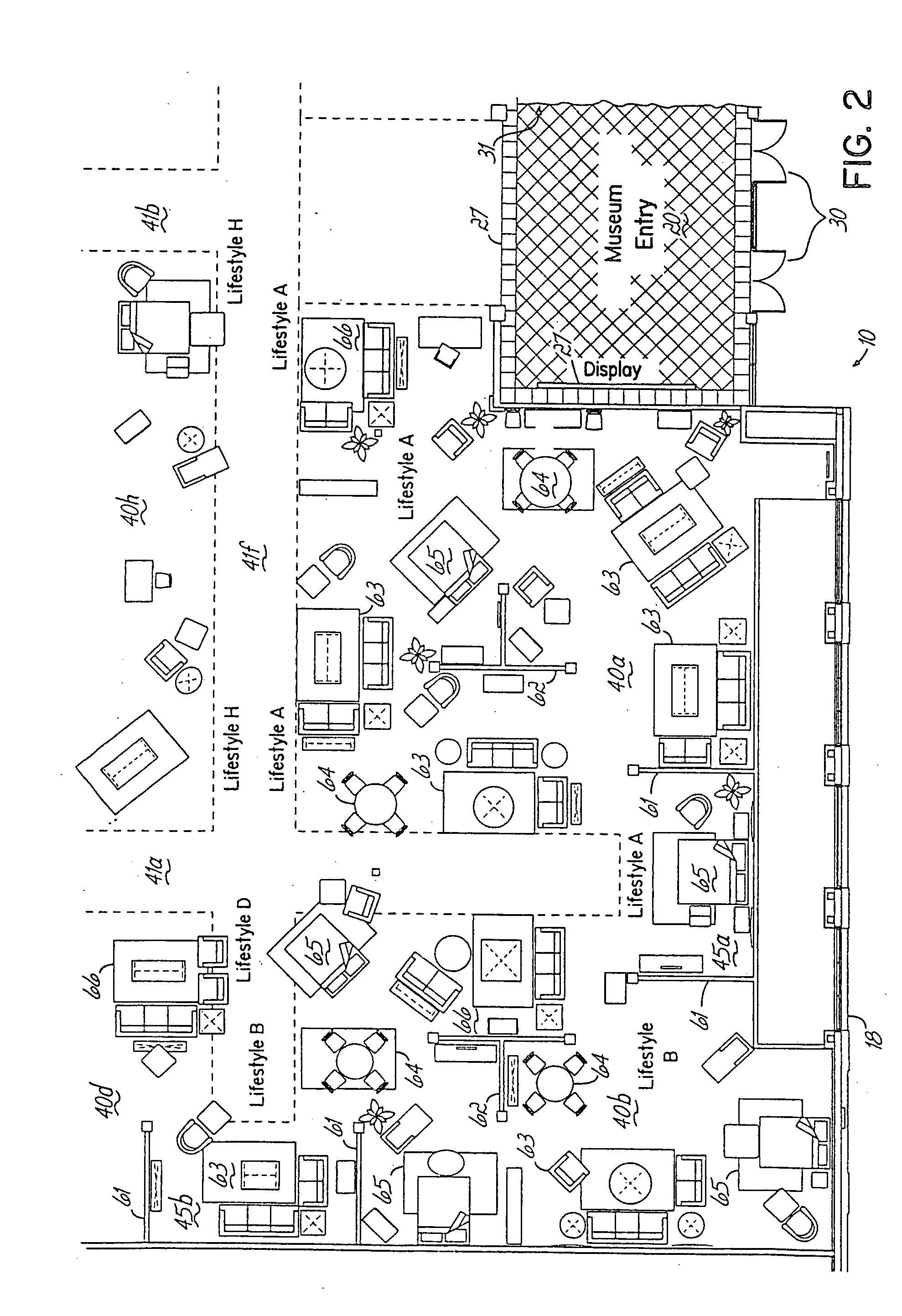 Patent us20050021356 retail furniture store for Floor plan furniture store