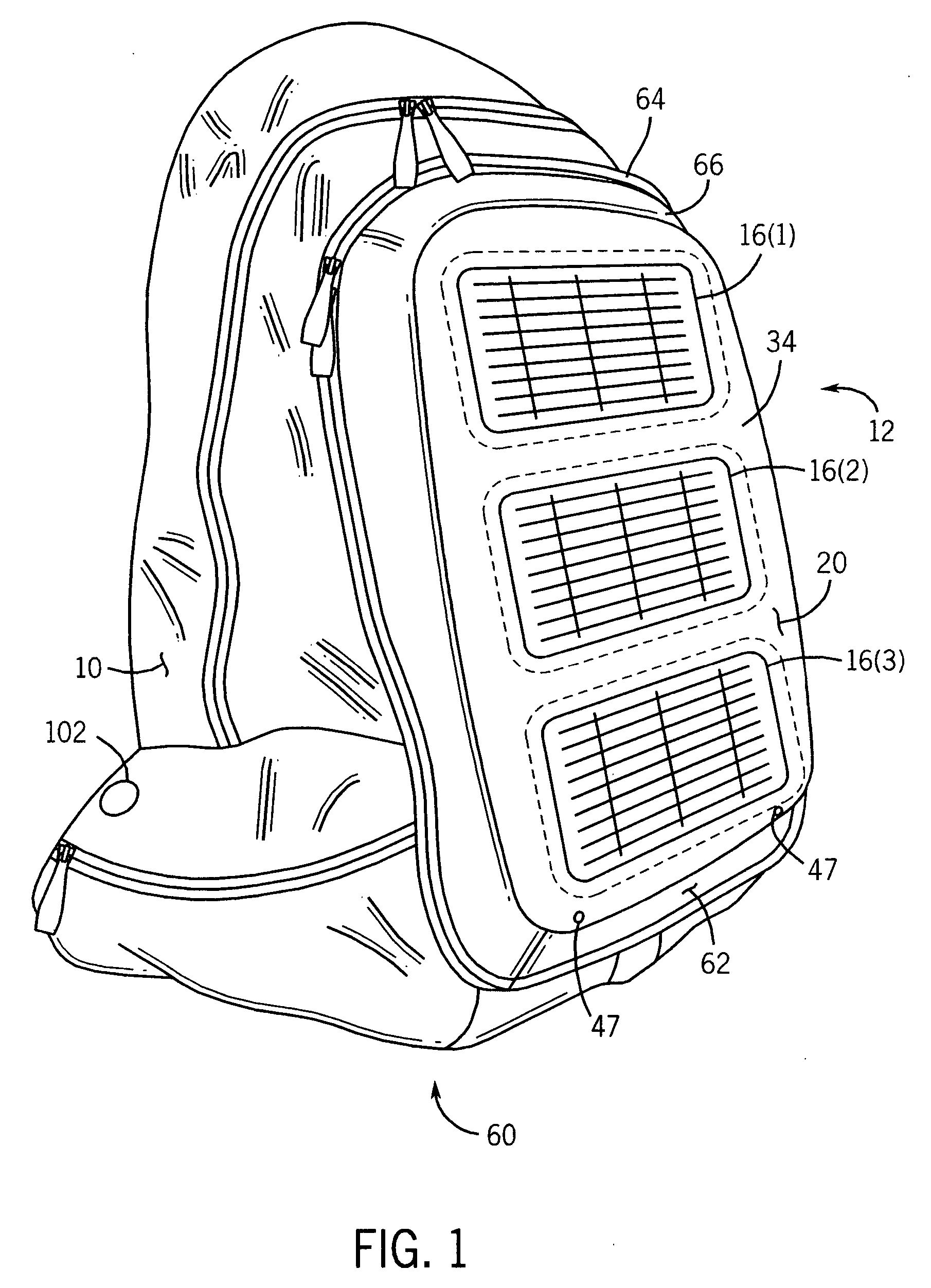 patent us20050140331 - solar bag with internal battery