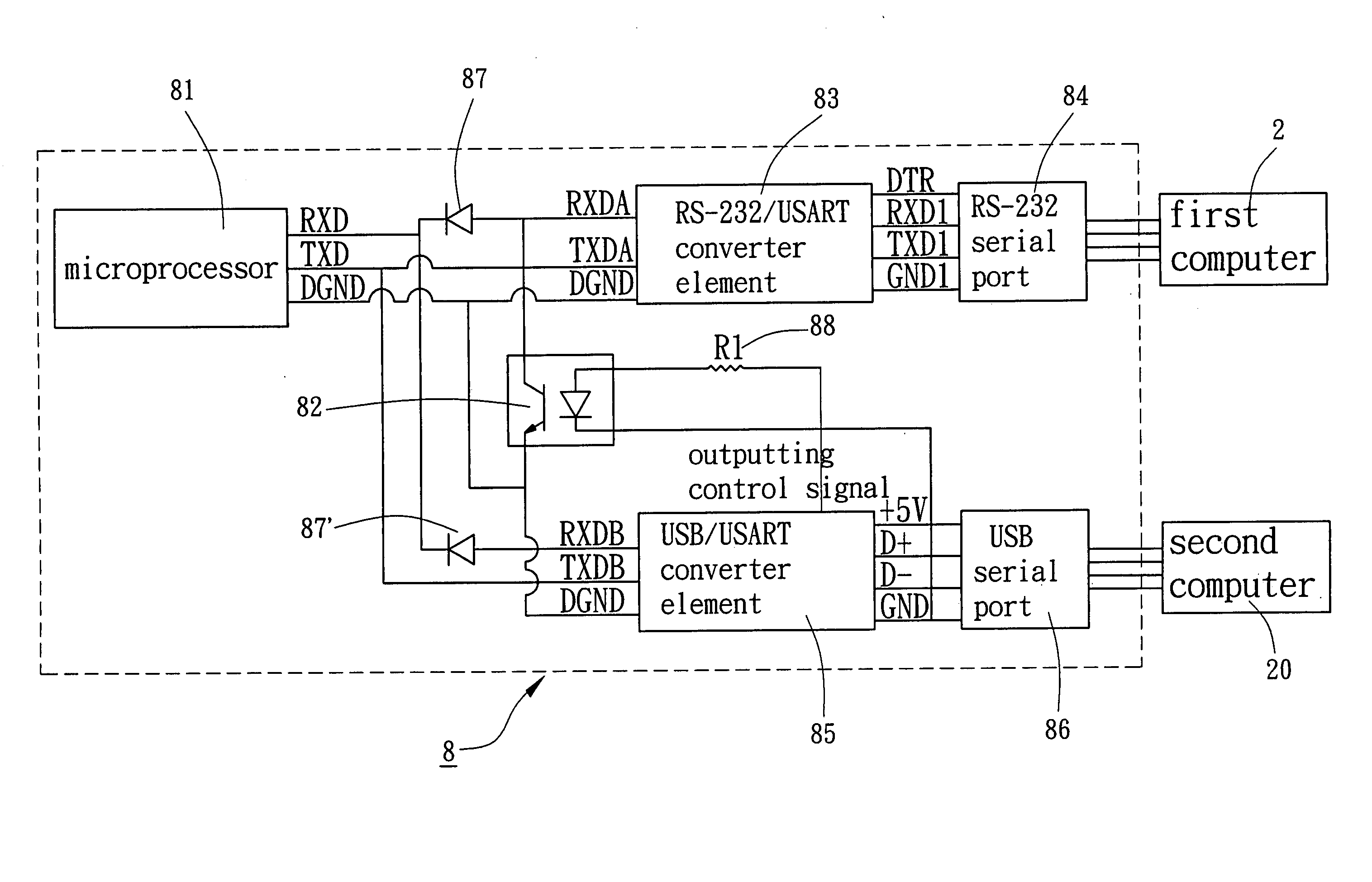 Patent Us20050154799 Switching Device For Rs 232 Serial Port And Usb To Converter Circuit Drawing