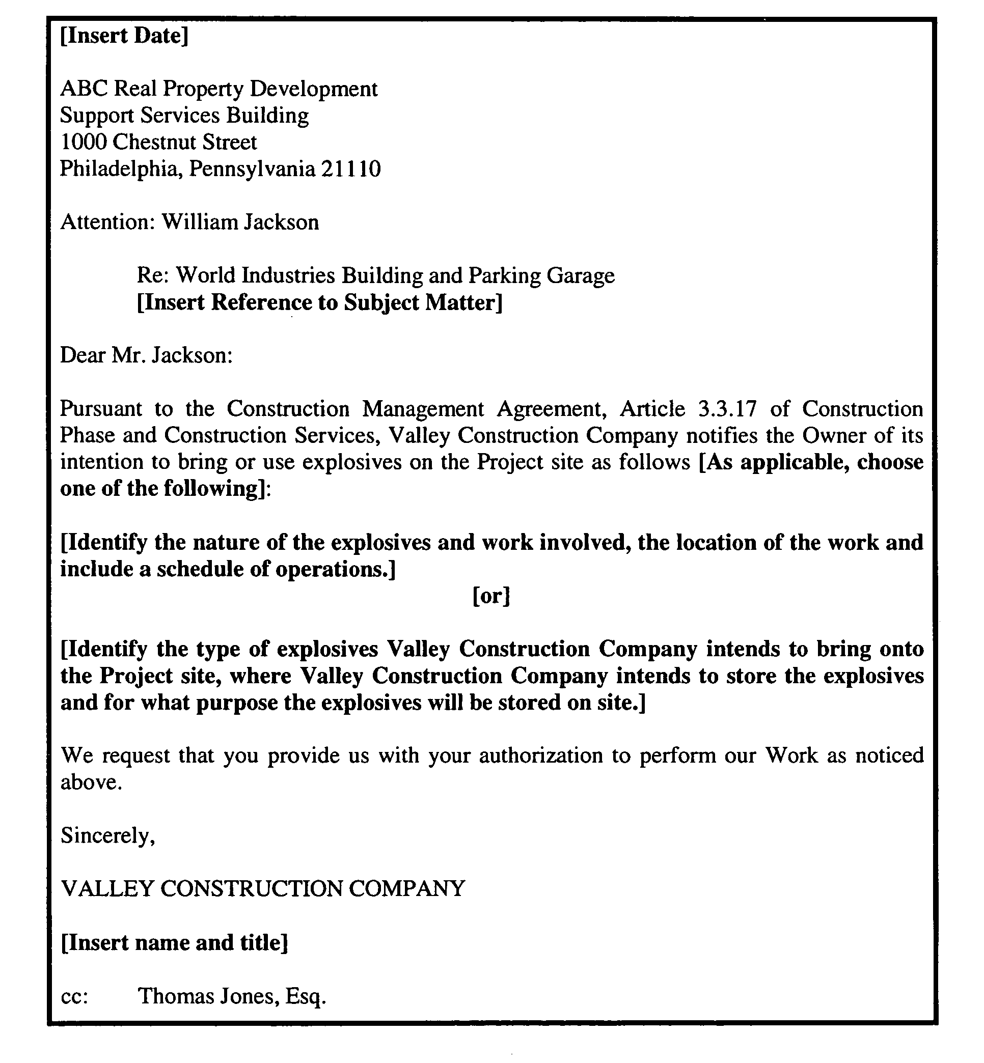 Construction Work Letter For Construction Work Delay