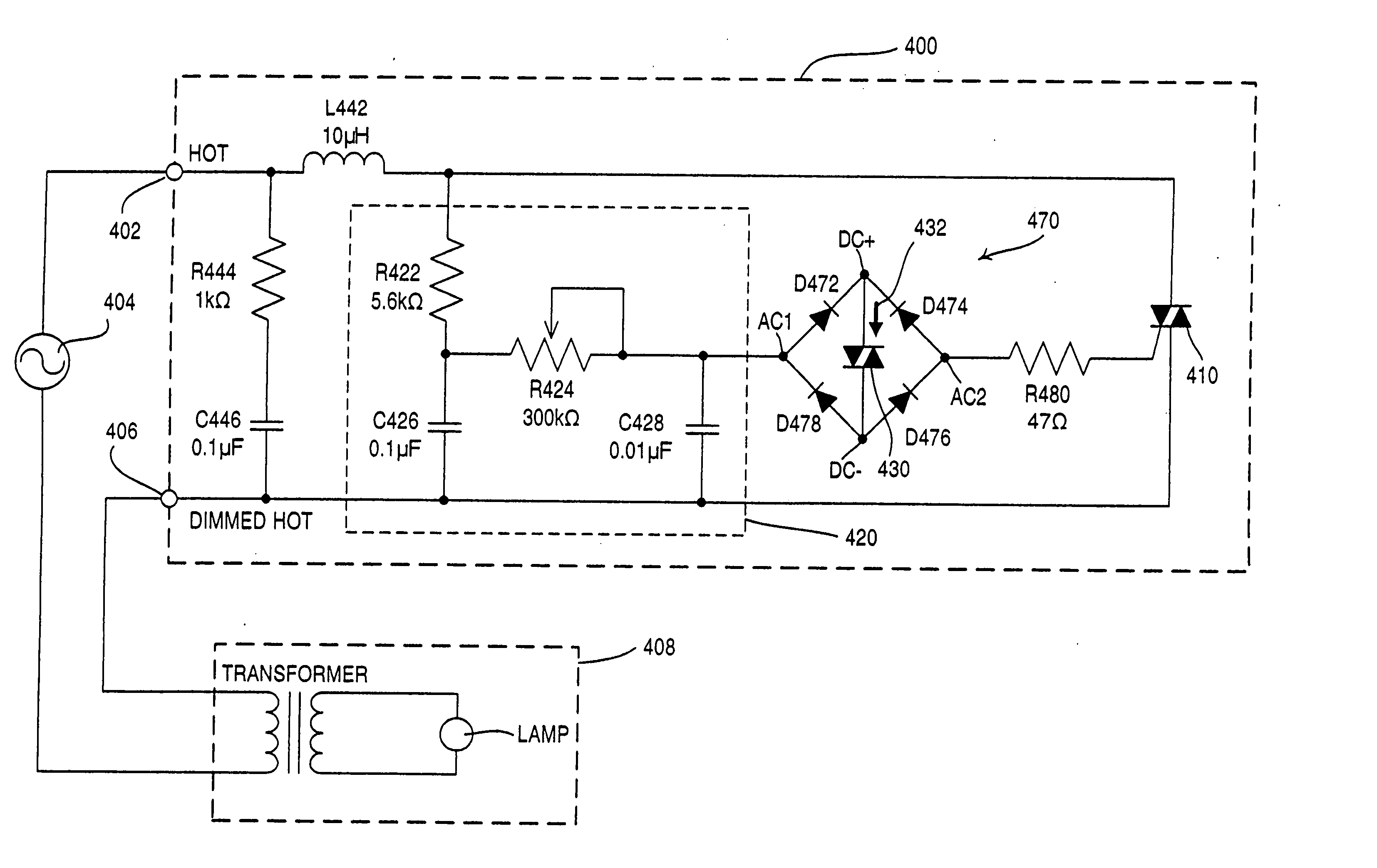 Patent Us20060109702 Load Control Circuit And Method For Achieving Diac Triac Phase Power Without Hysteresis Drawing