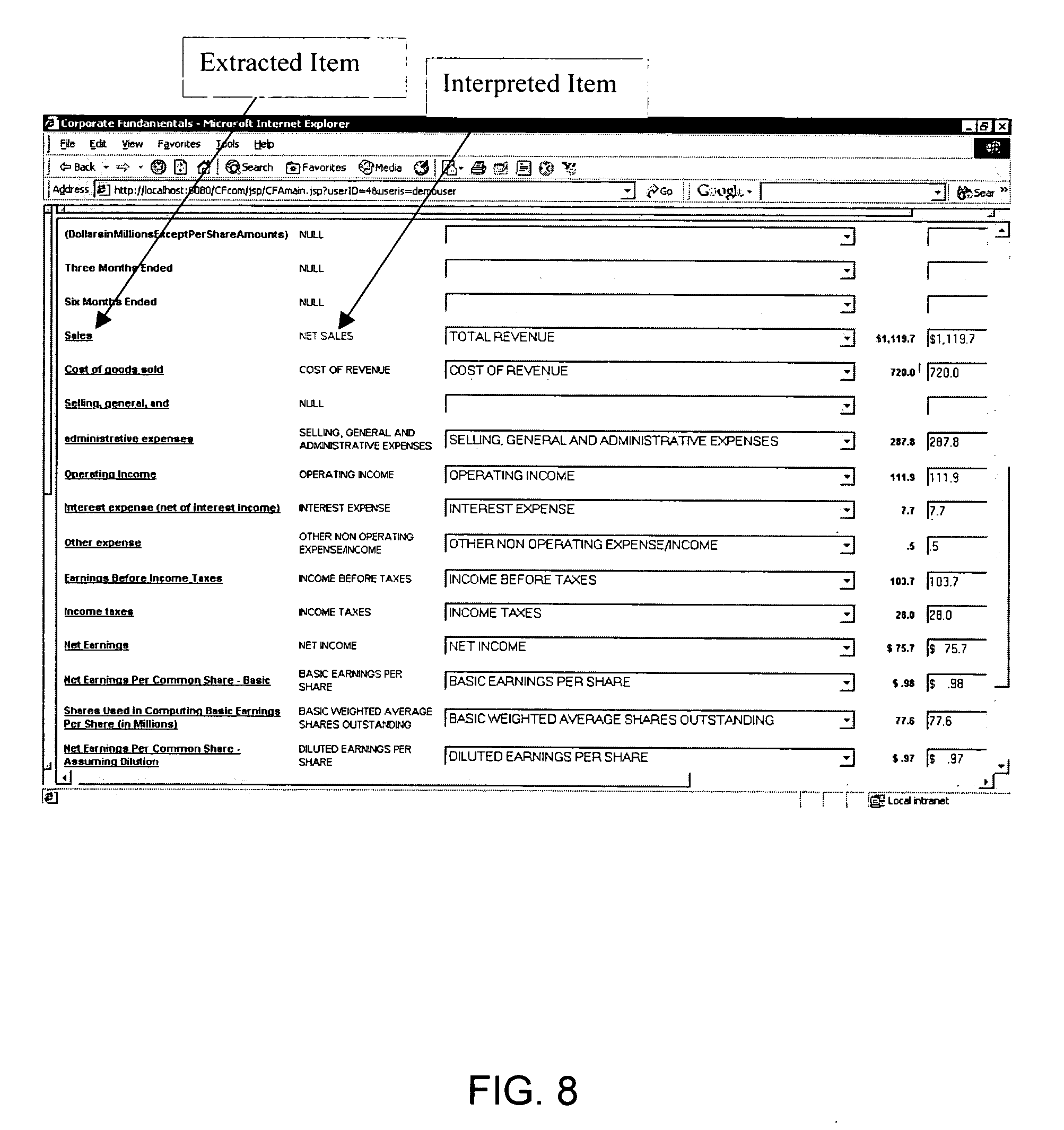 Patent us20060288268 method for extracting interpreting for Tabular table