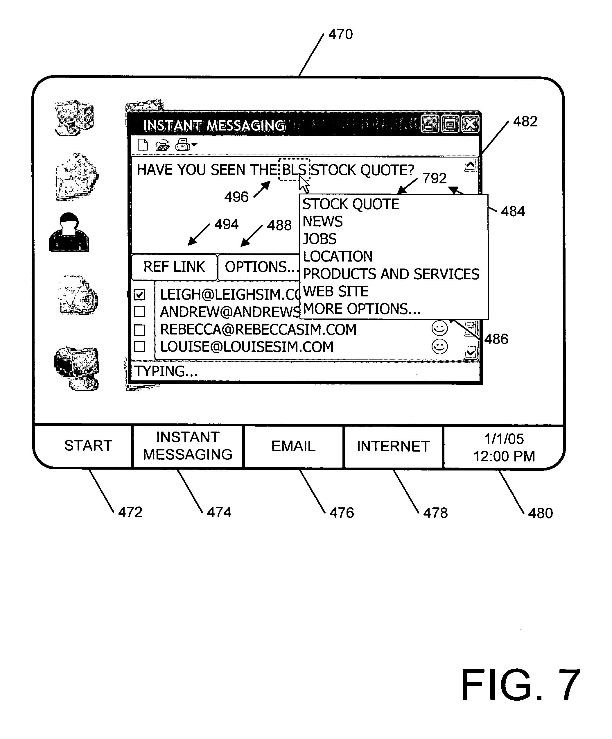 Instant Message Link : Patent us  reference links for instant