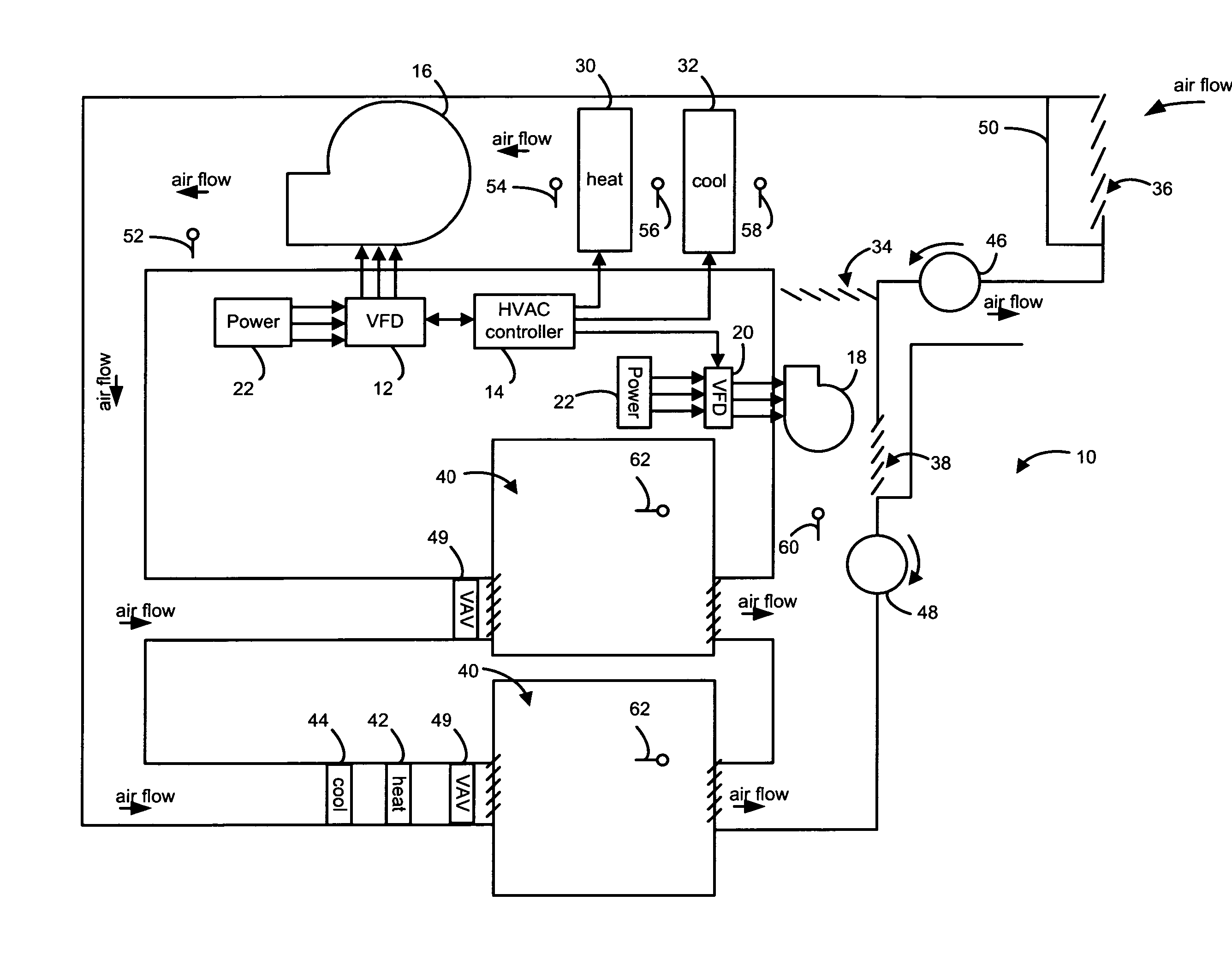 Patent Us20070289322 Air Handler Unit Fan Installation And Control Hvac Economizer In Addition Electric Furnace Heating Drawing