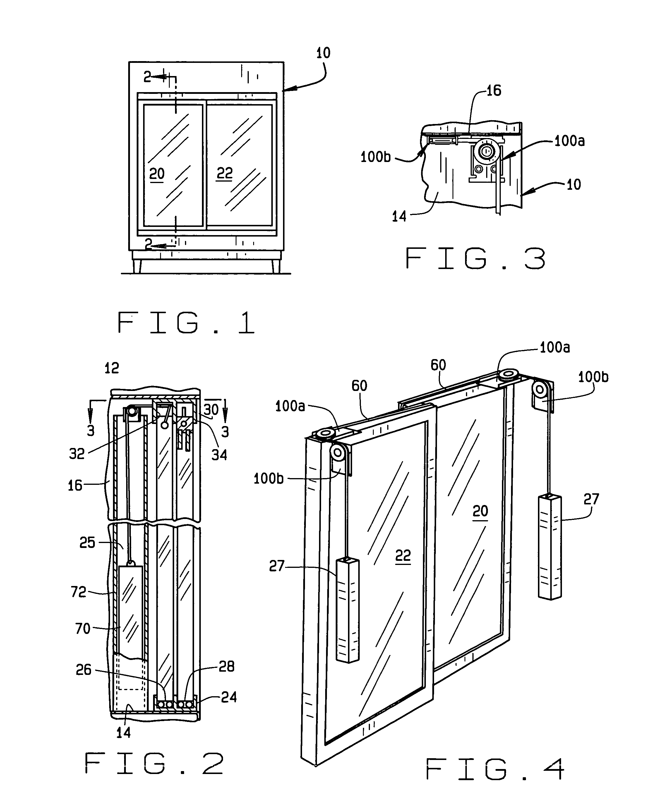 Patent us20080007148 self closing sliding door assembly for Sliding glass doors drawing