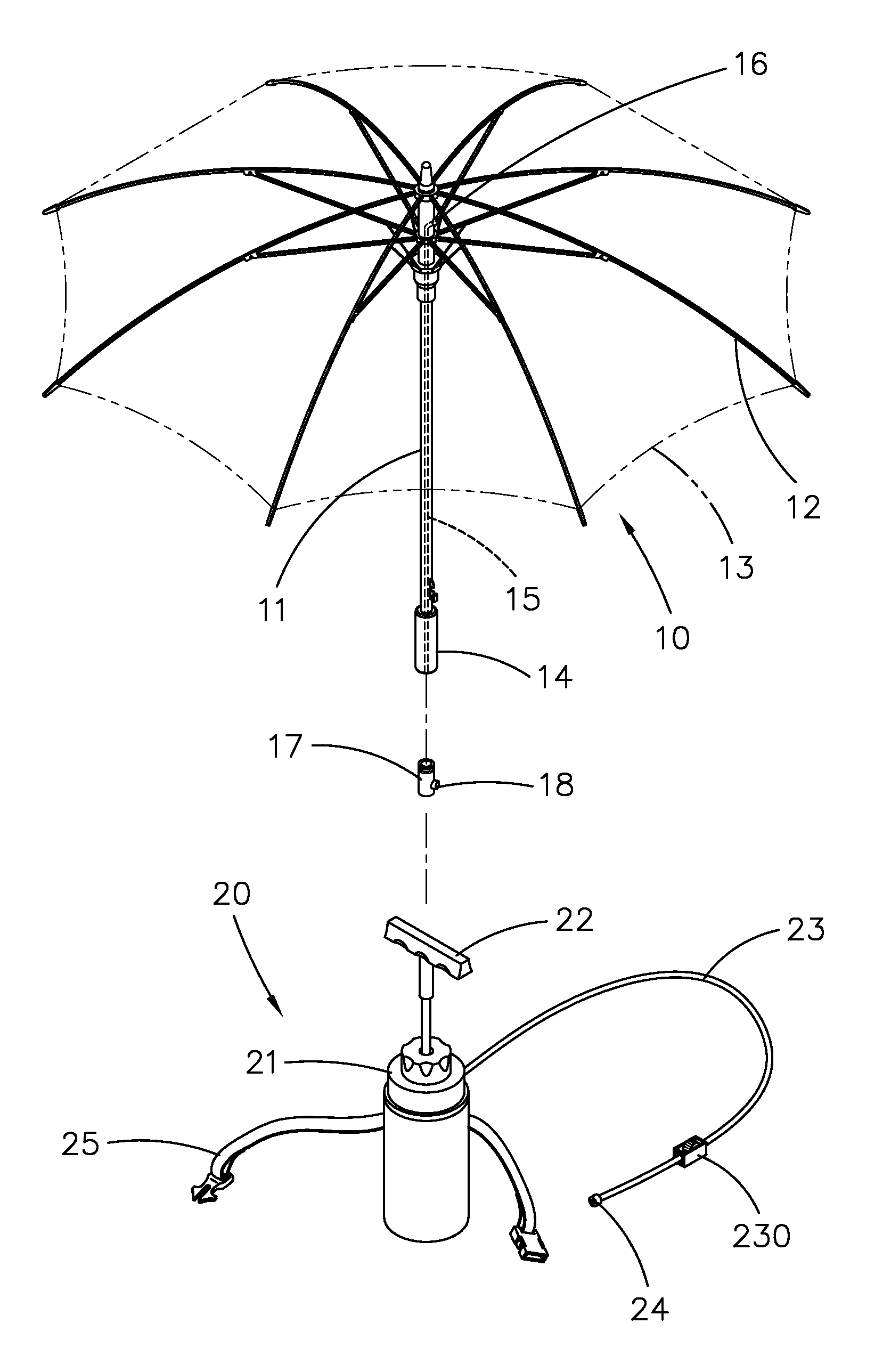 patent us20080048051 misting umberlla patents Canopy Mister patent drawing