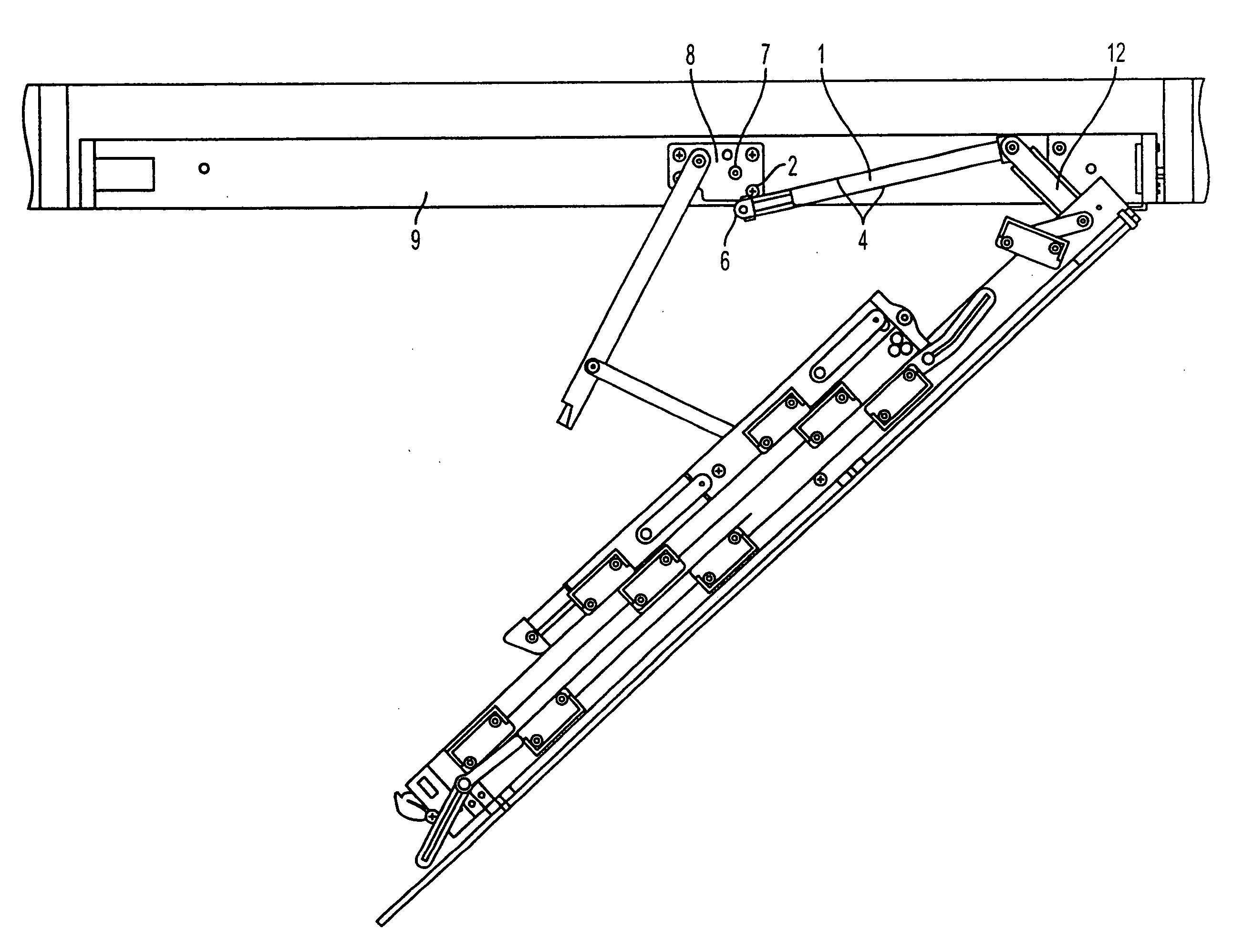 patent pre compressed gas strut use thereof for installing attic ladder and 2585x1996