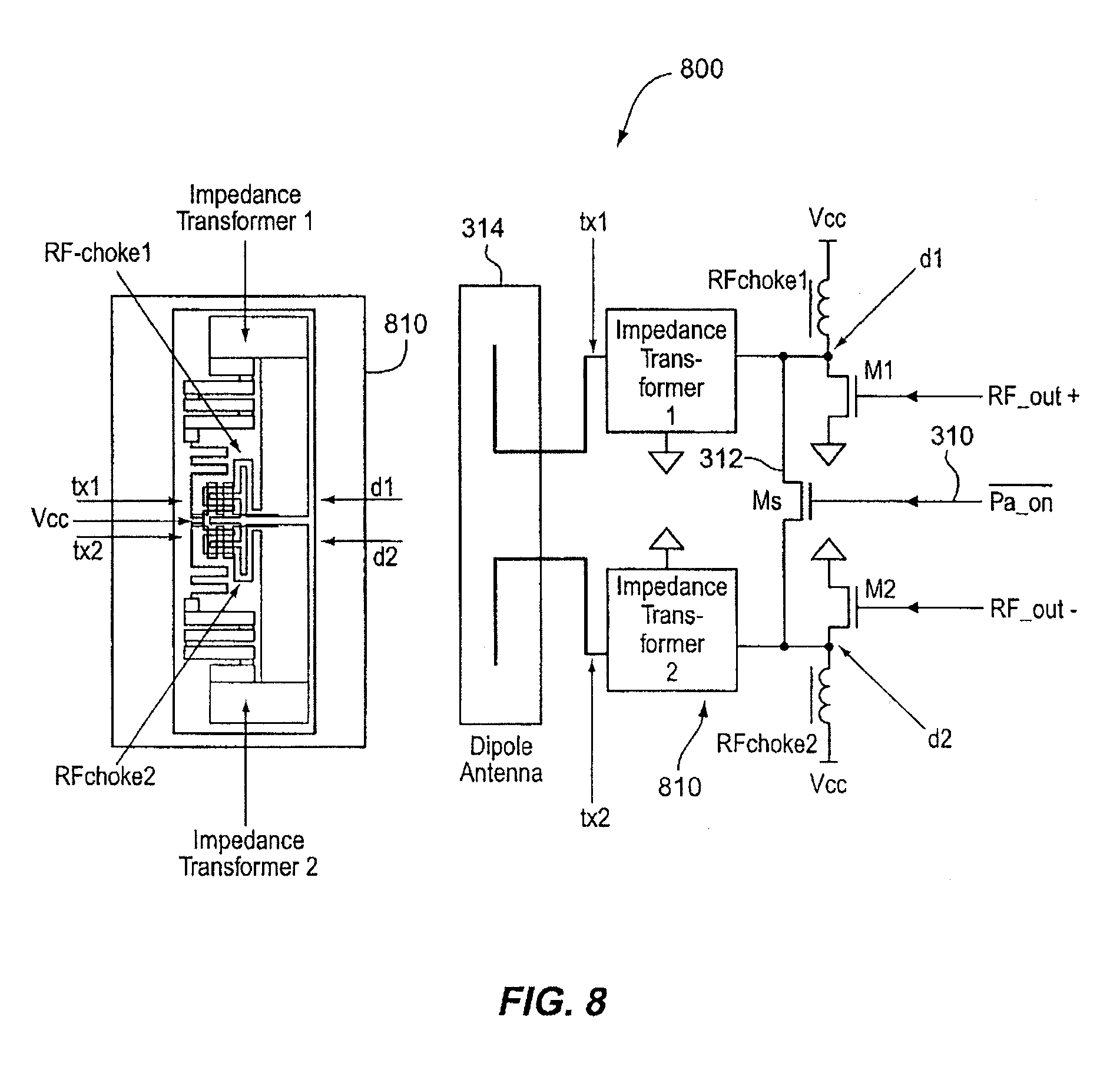patent us20080200131 - chip package with transceiver front-end