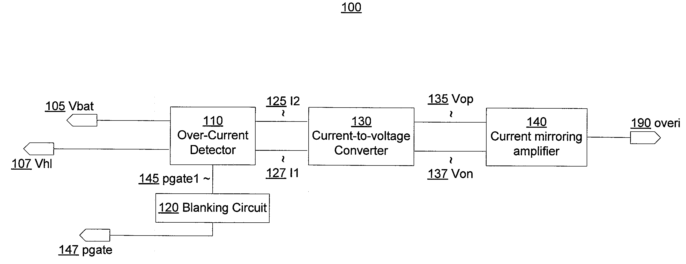 Patent Us20090096489 High Voltage Tolerant Over Current Detector Simple Currenttovoltage Converter Circuit Diagram Electronic Drawing