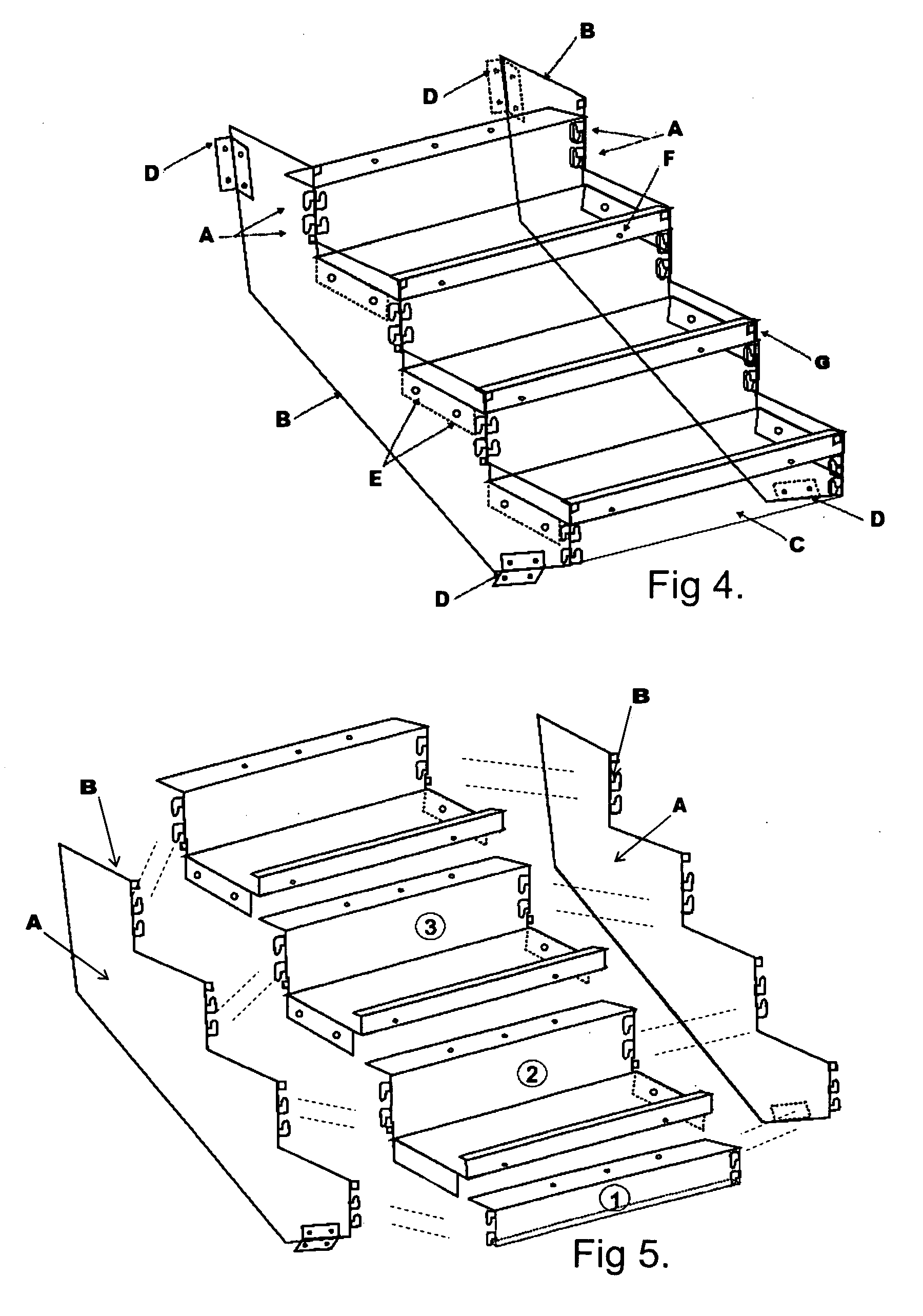 Patent Us20090293385 Boltless Metal Stair Step System