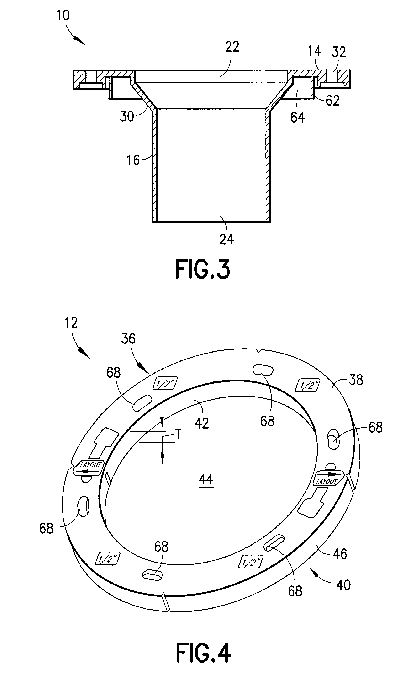 Patent US20100037376 - Closet flange system for existing