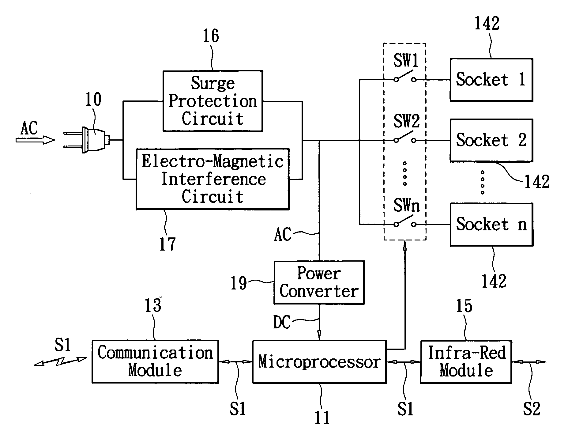 Patent Us20100079001 Outlet Switch Socket Device Google Patents Infra Red Tv Remote Control Extender Circuit Diagram Drawing