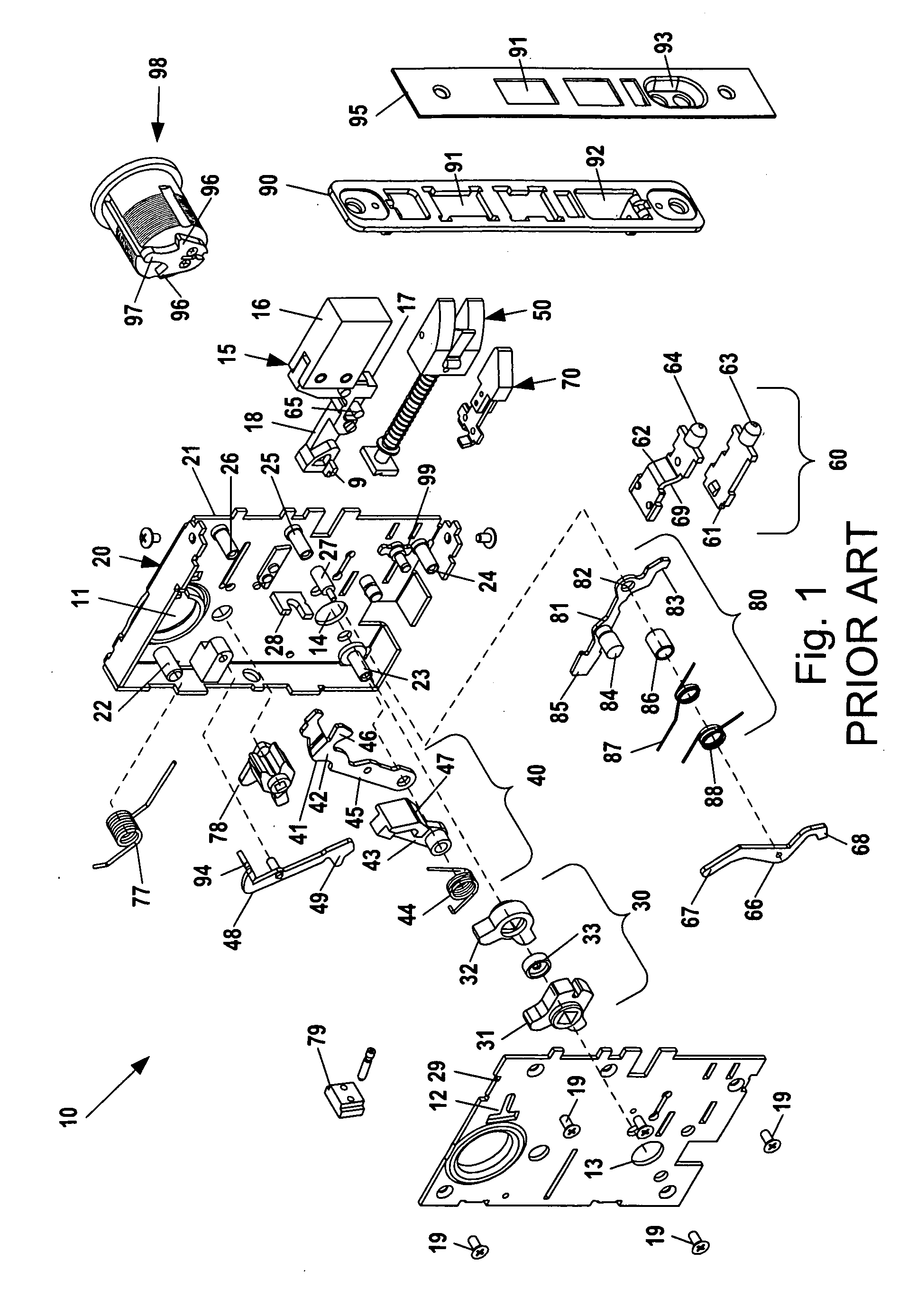 Patent Us20100263418 - Mortise Lock Assembly