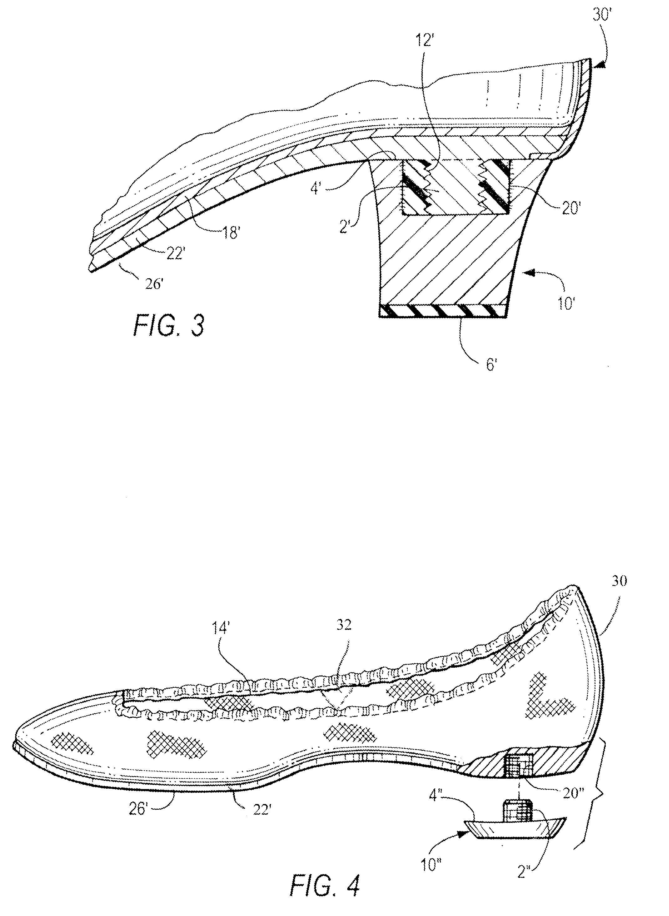 patent us20110067265 transitional shoe with screw on heel Inside Heel patent drawing