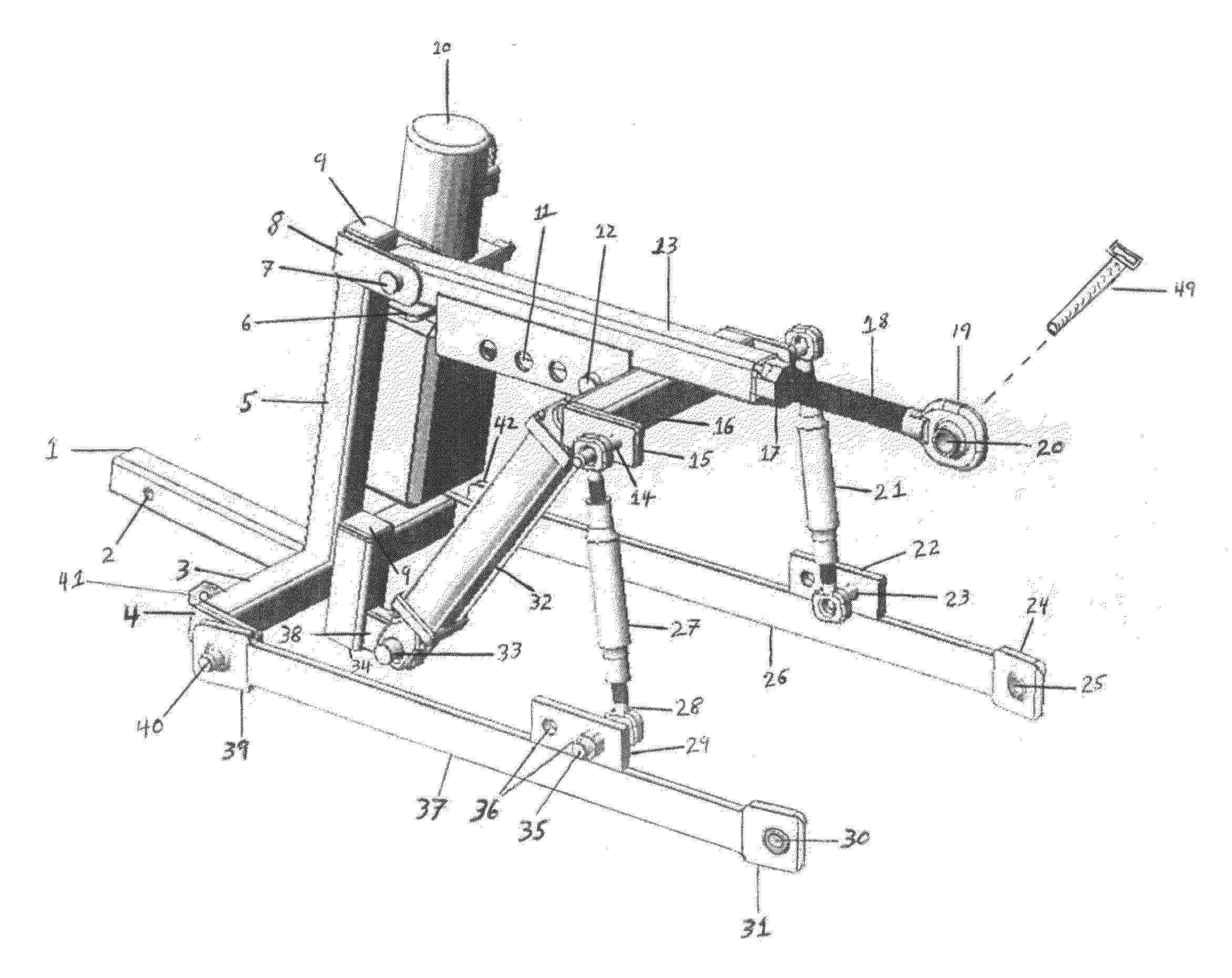 Three Point Mechanism : Patent us  t point lift three hitch