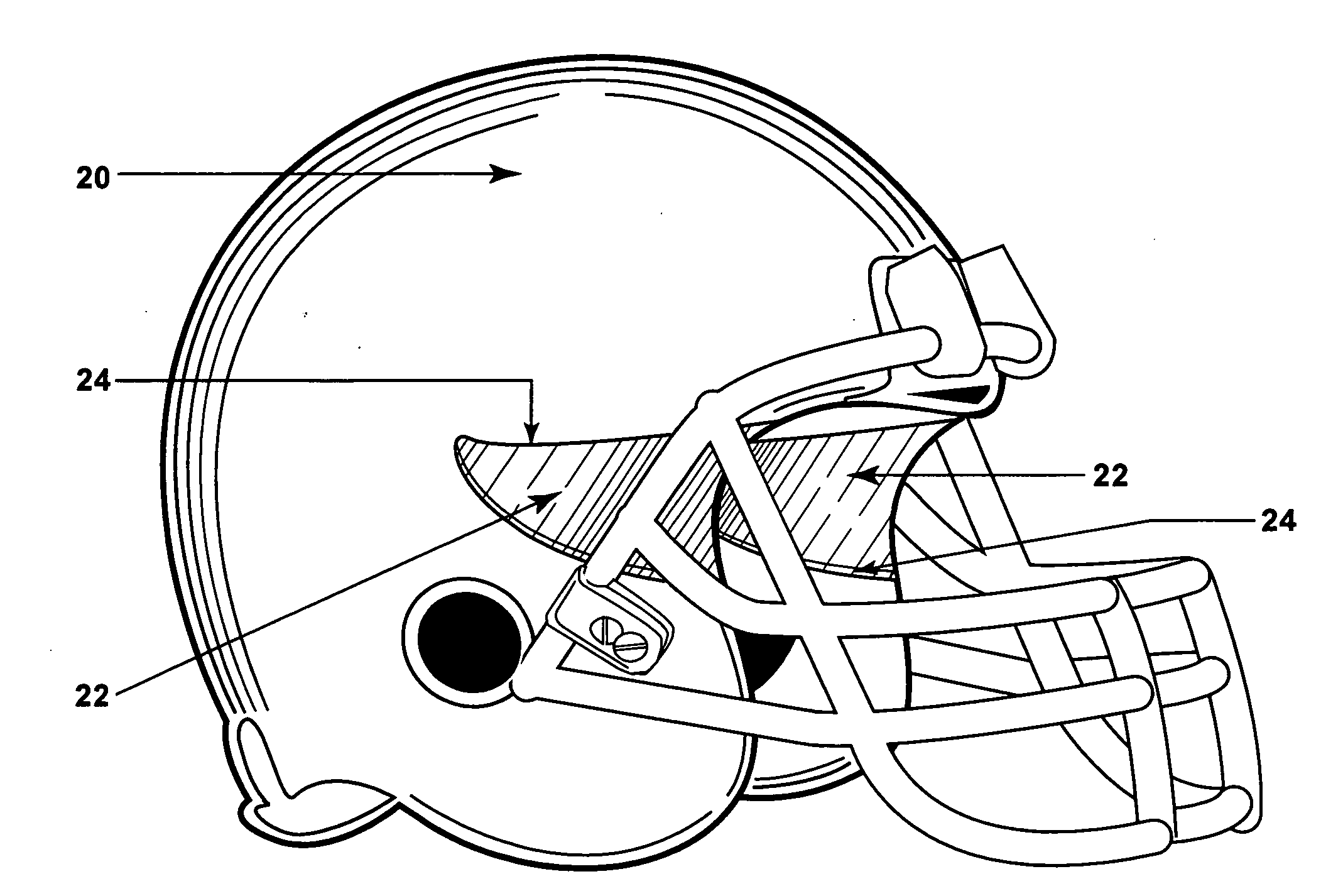 Patent US20110214225 - Lateral vision football helmet ...