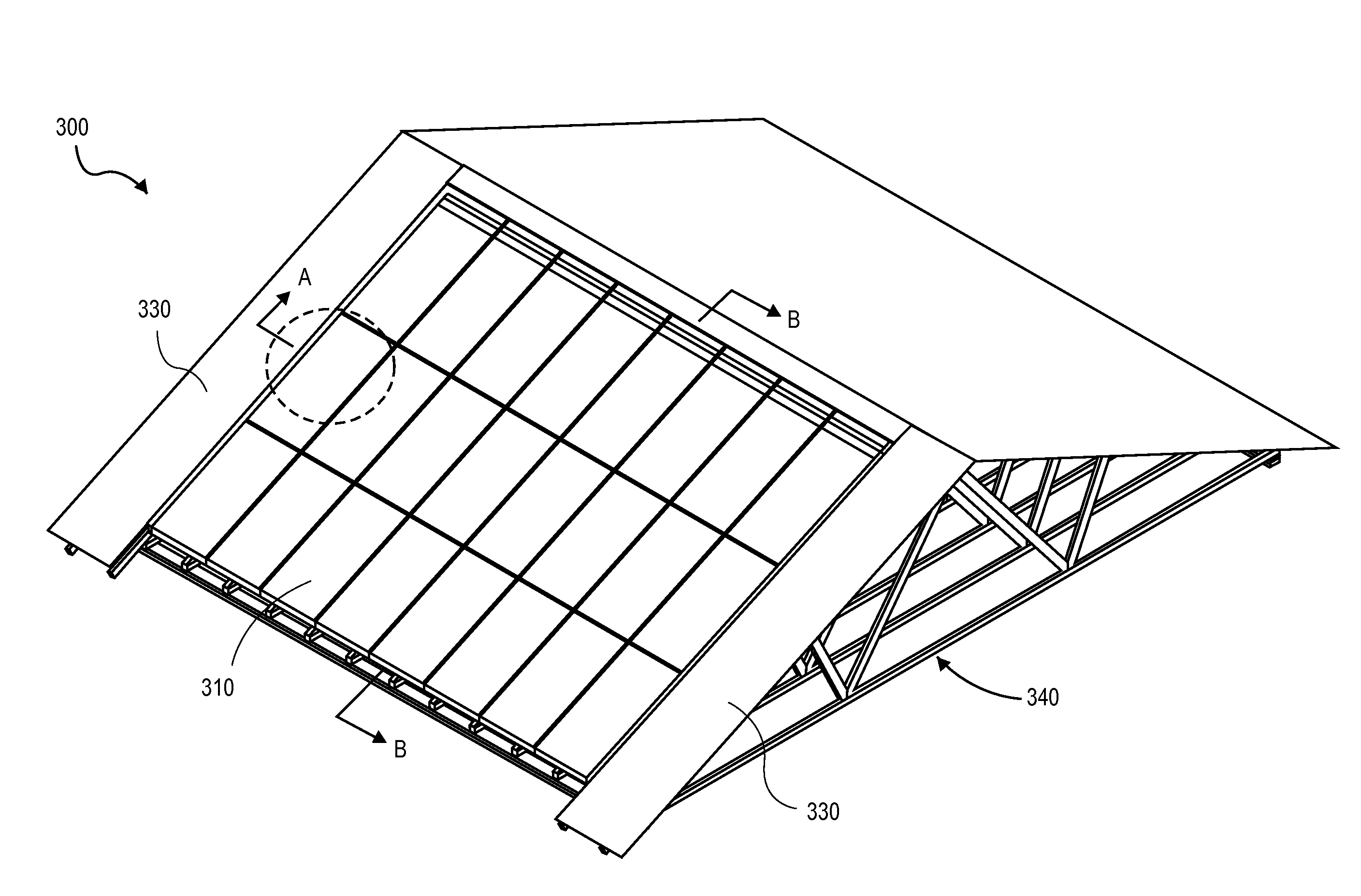 Patent us20110252724 roof truss compatible for solar for Truss roof system