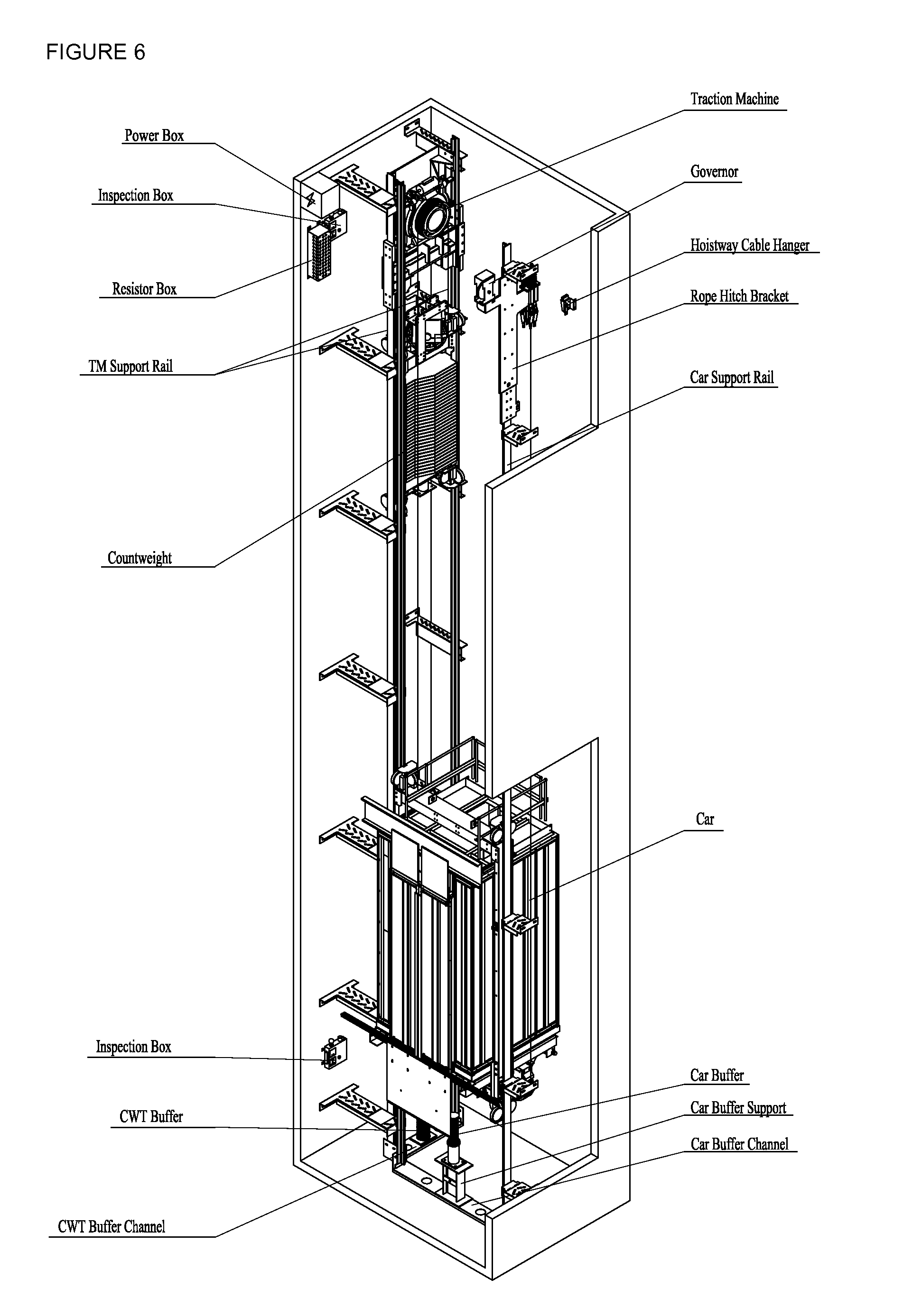 Patent us20120145489 machine room less elevator system for Elevator plan drawing