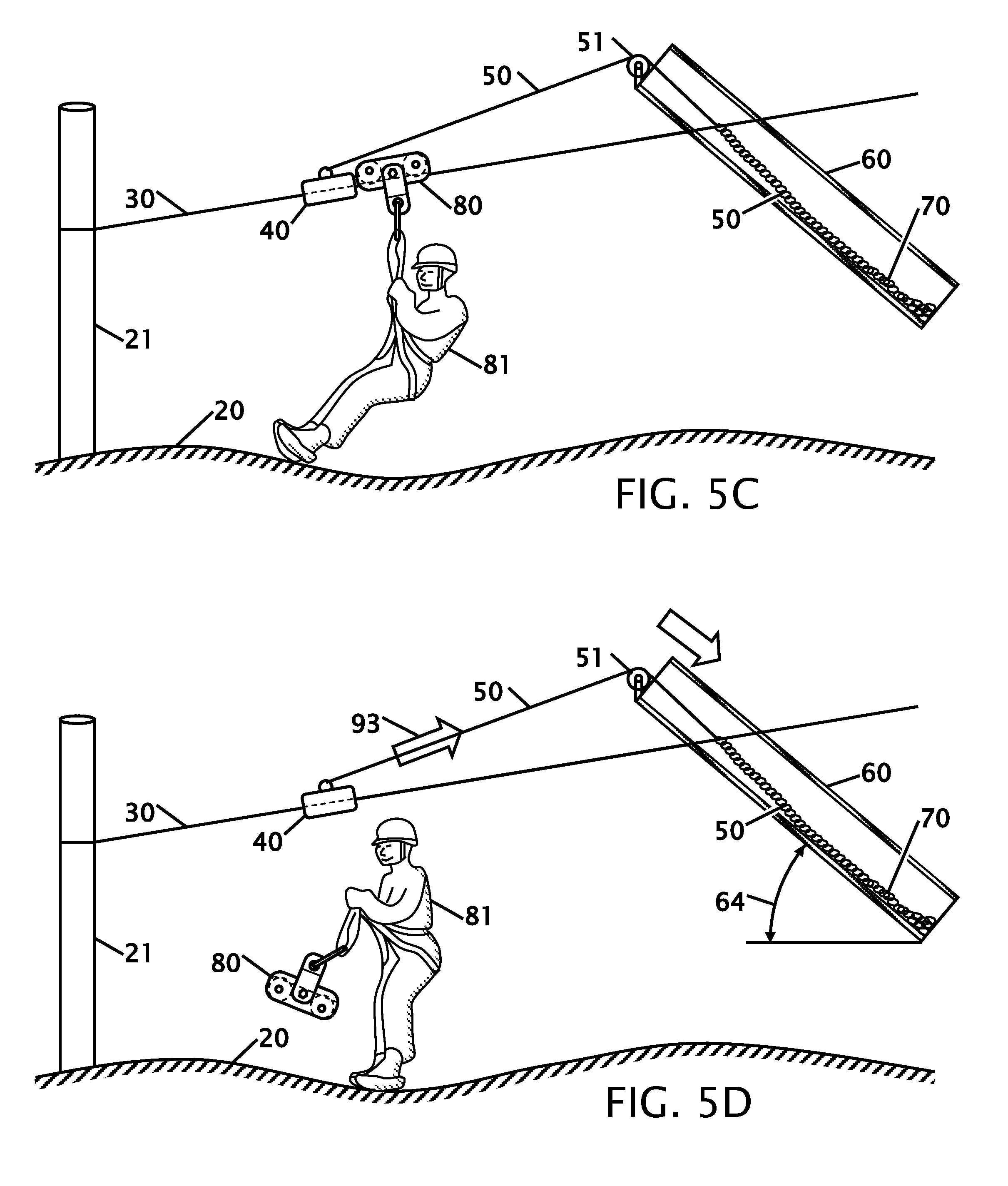 Line Drawing Of Zipper : Patent us  braking system for a zip line