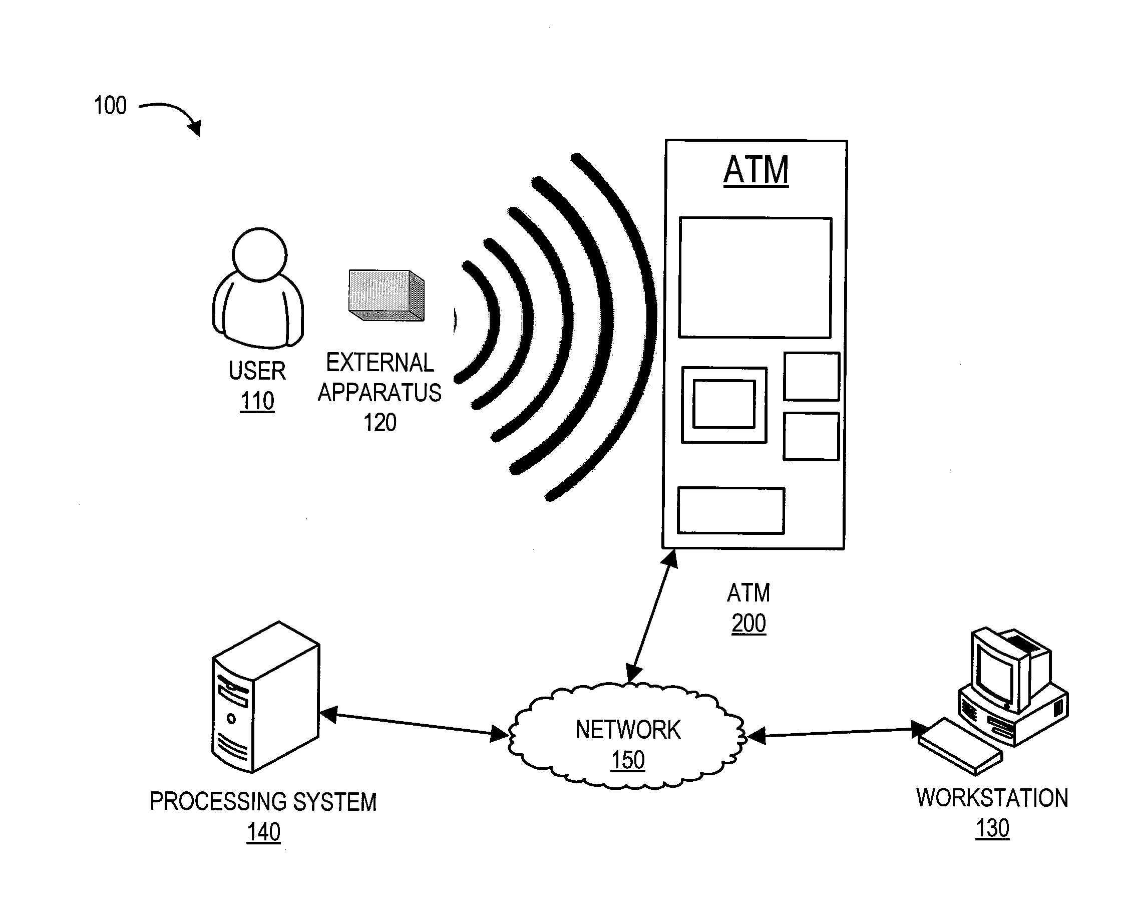 patent us20120226610 - contactless automated teller machine