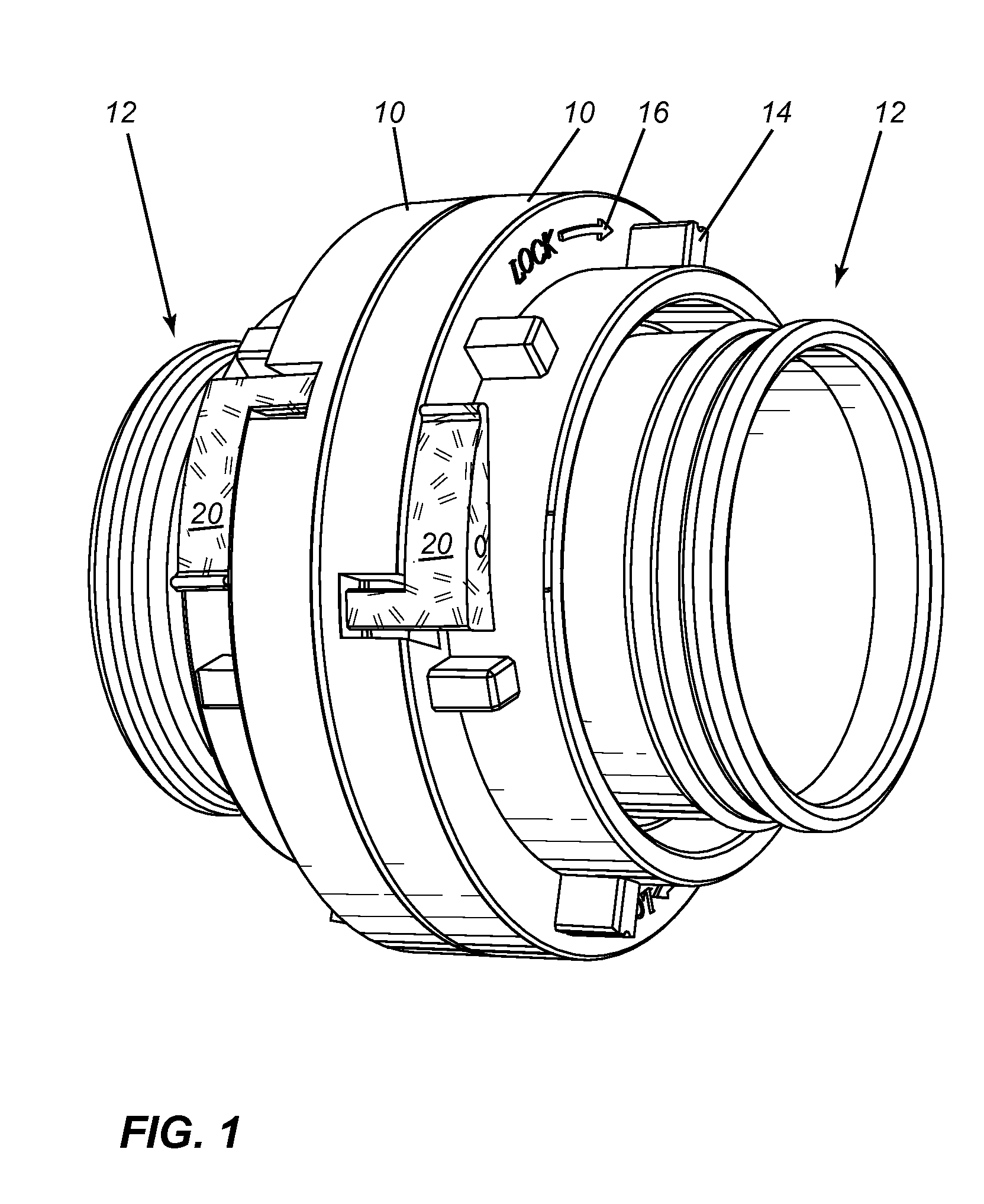 brevet us20130048133 high visibility locking levers for fire hose Grip Lock Coupling patent drawing