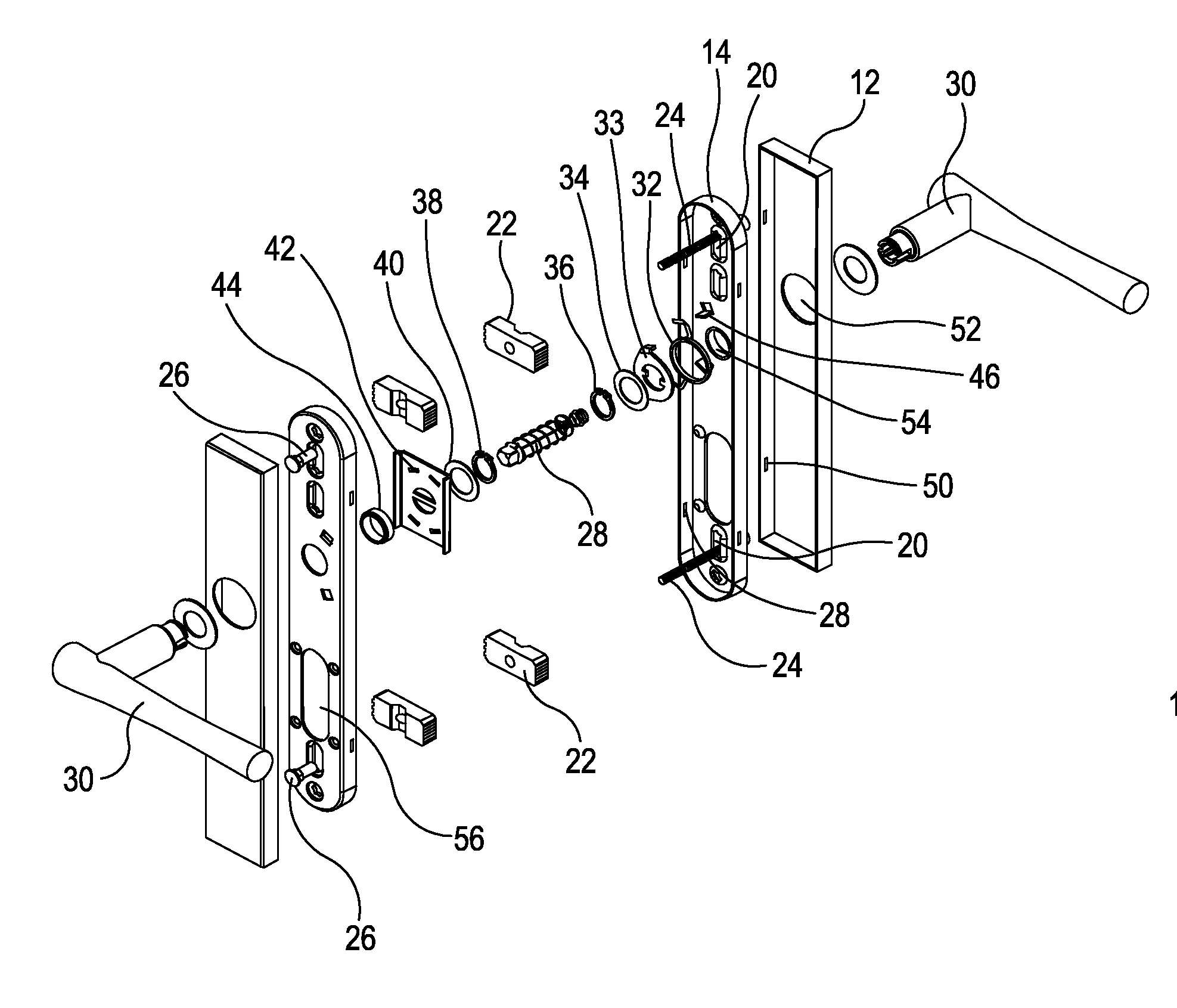 Patent Us20130056612 Universal Multipoint Lock Lever Set
