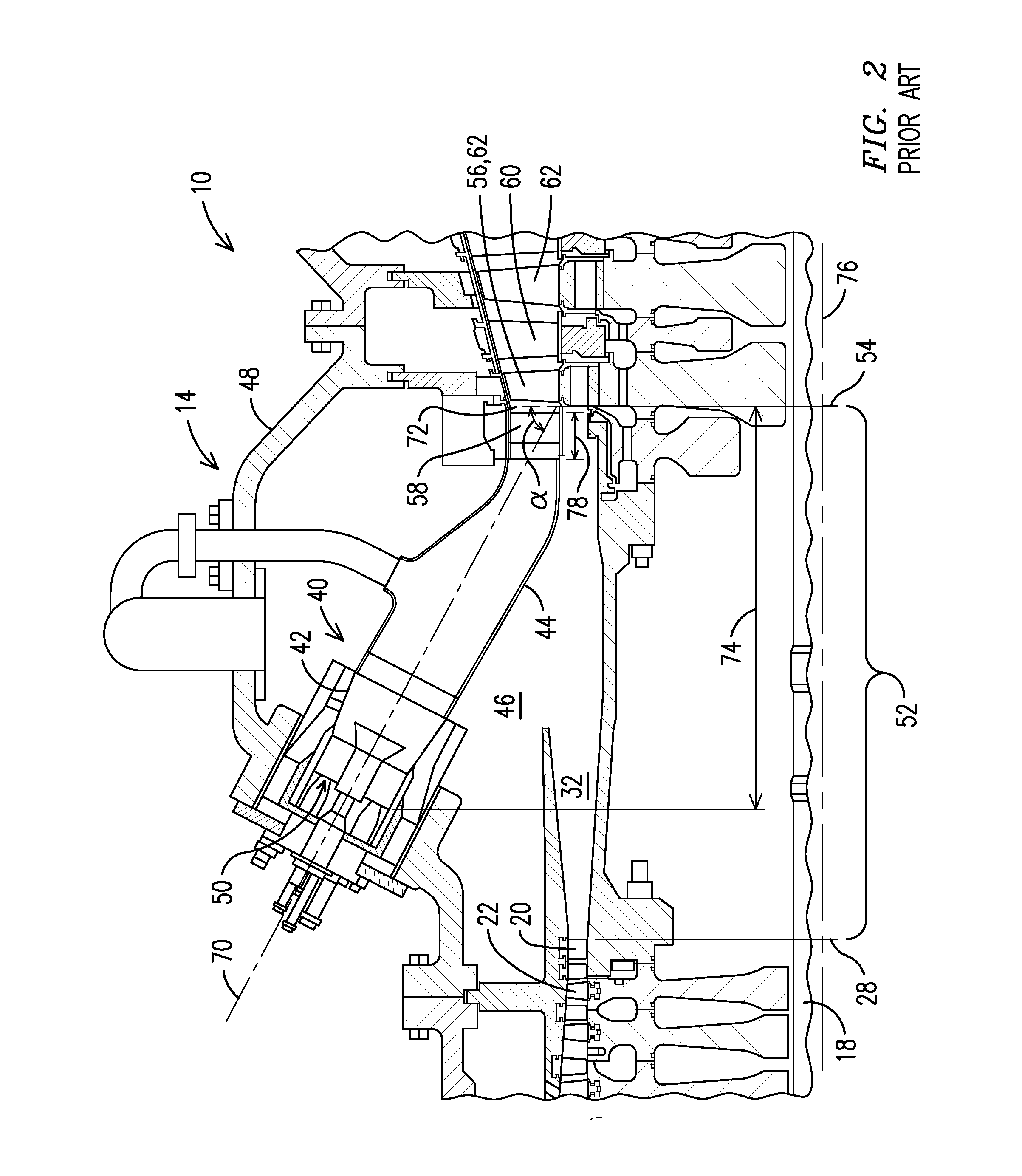 Patent US Gas turbine engine with shortened mid