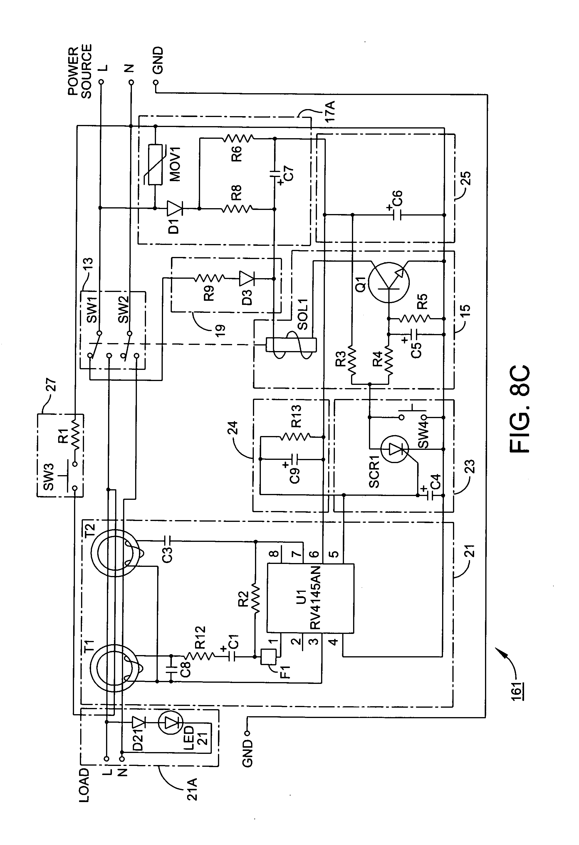 Patent Us20140098446 Universal Ground Fault Interrupter Gfci Rc Reset Circuit Diagram Powersupplycircuit Drawing
