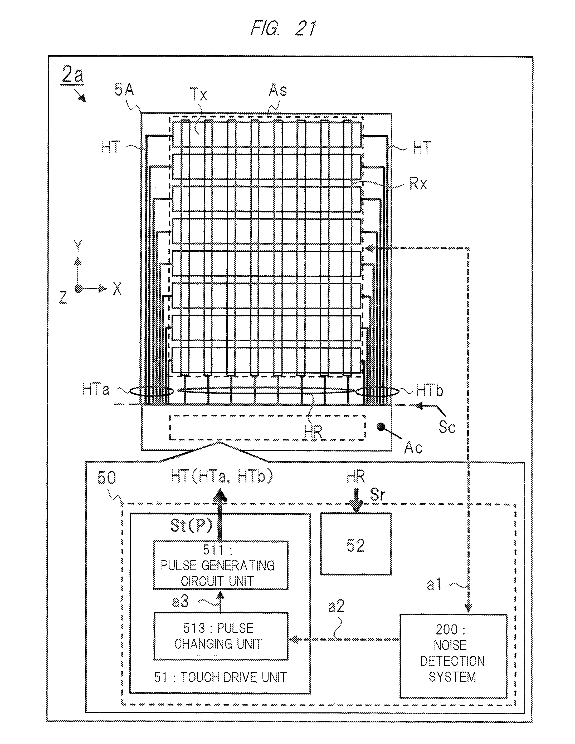patent us20140253498 touch sensor device display device and patent drawing