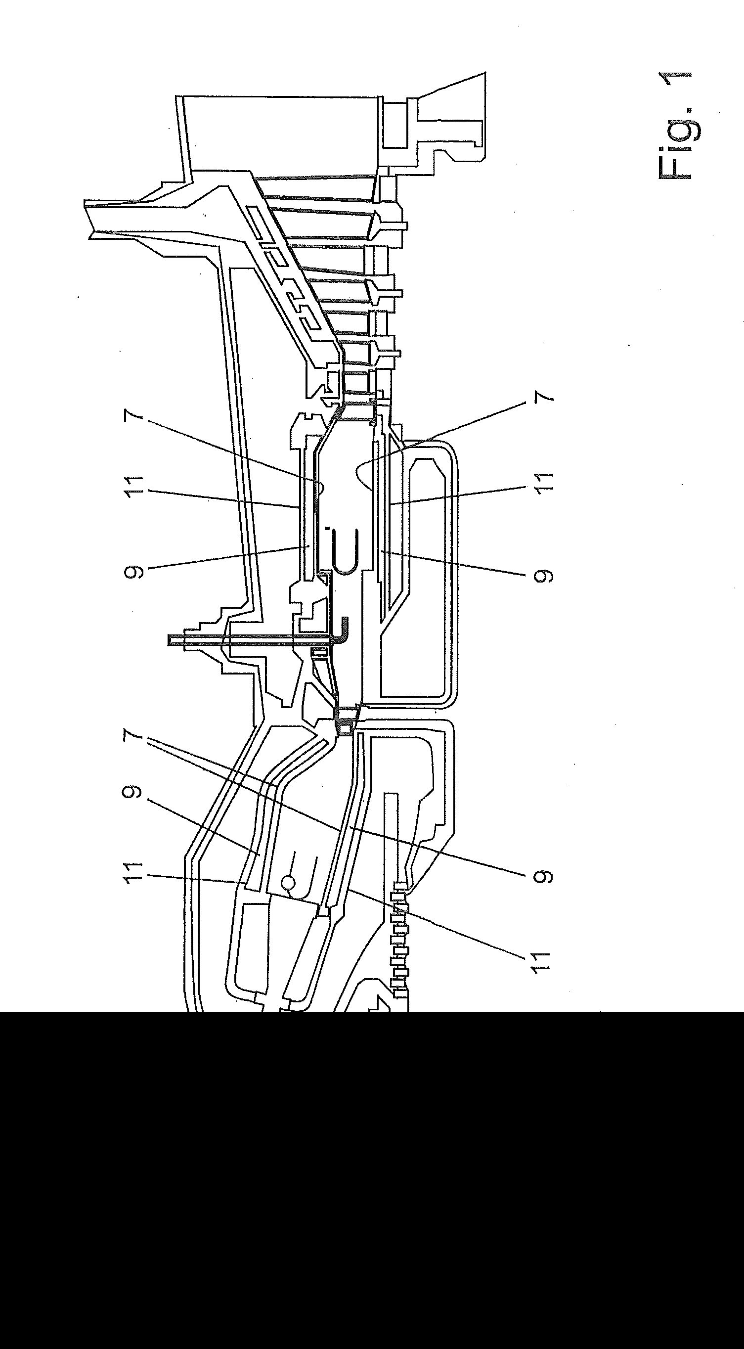 Patent US bustor of a gas turbine with pressure