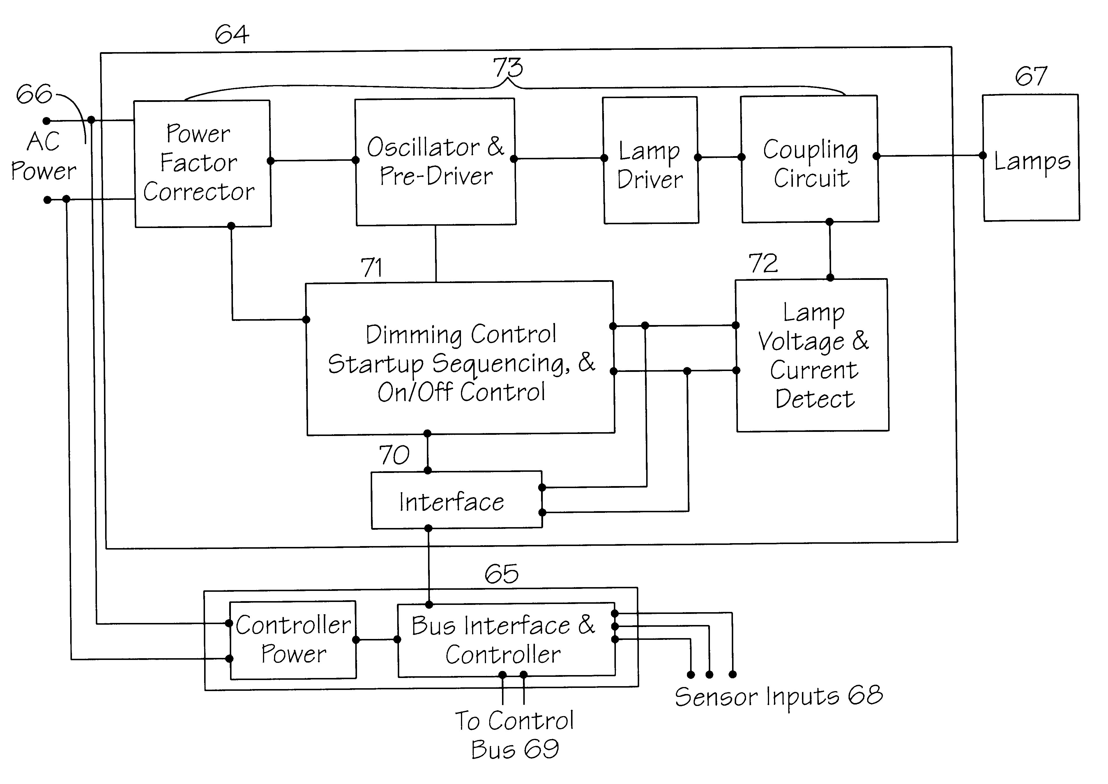 Patent Us6181086 Electronic Ballast With Embedded Network Micro Dimmable Circuit Dimming Feature Included Drawing