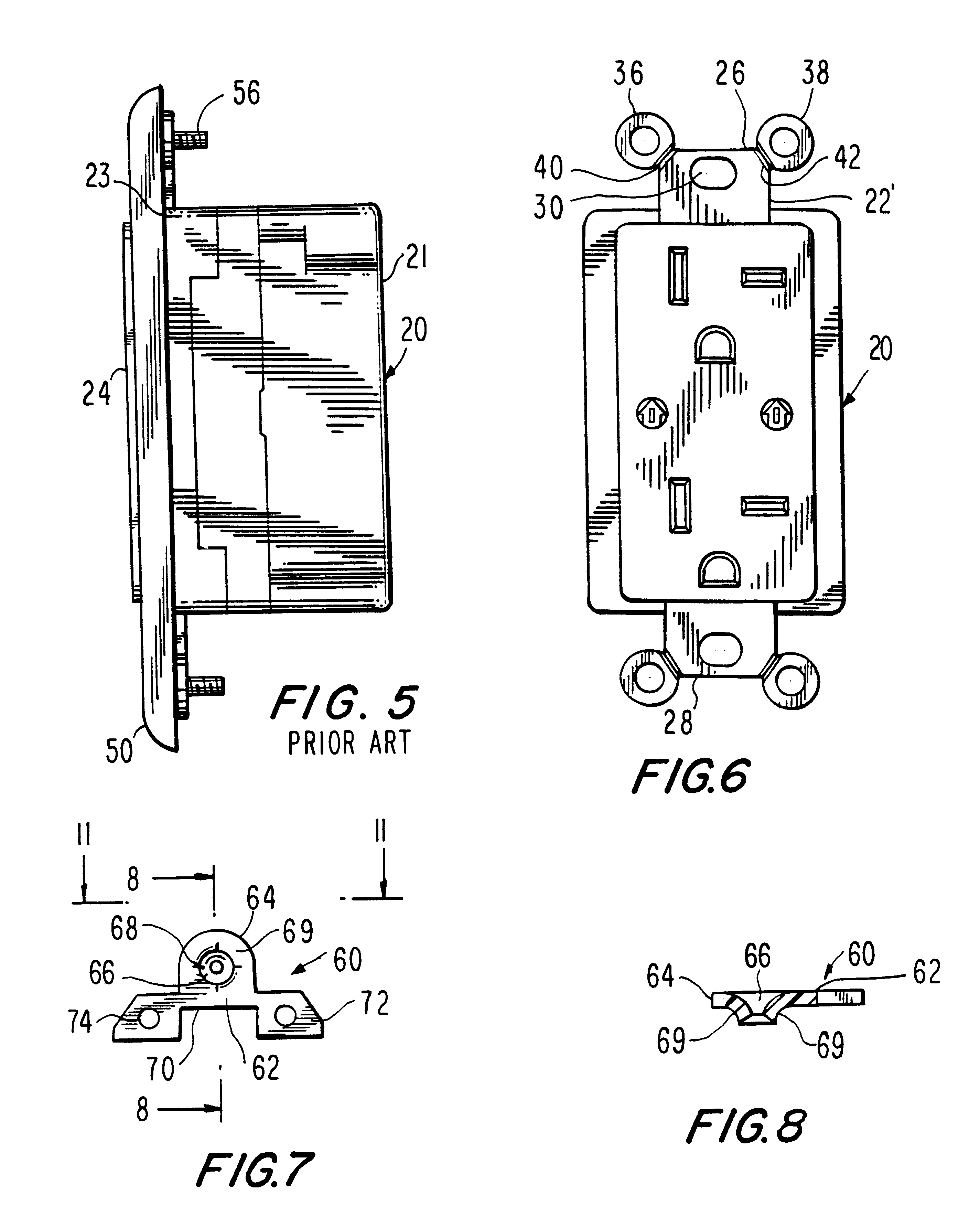 Patent Us6184466 Wallplate Retention Device Google Patents Leviton Phone Jack Wiring Also With Us20110203828 Drawing