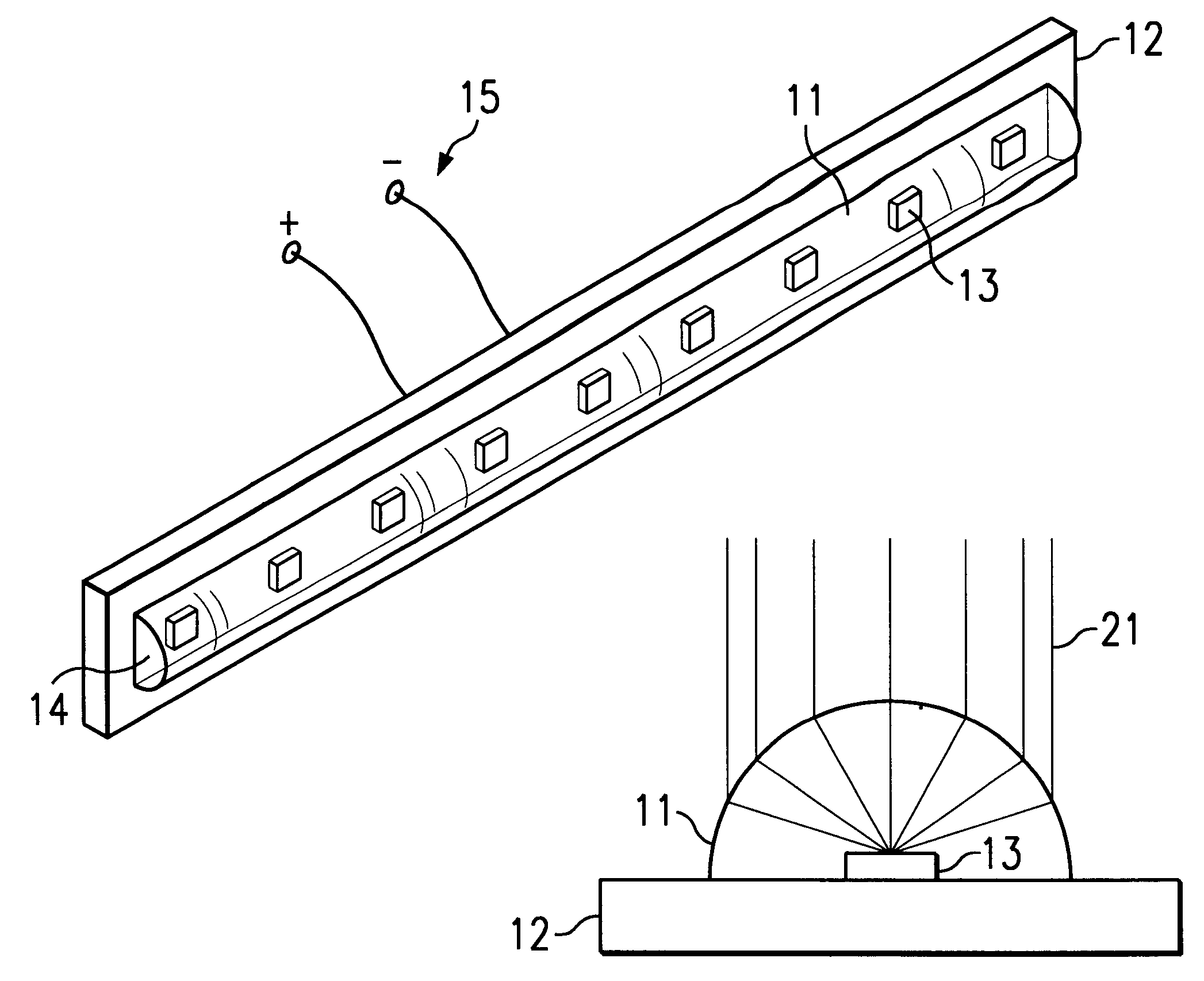 patent us6188527 - led array pcb with adhesive rod lens