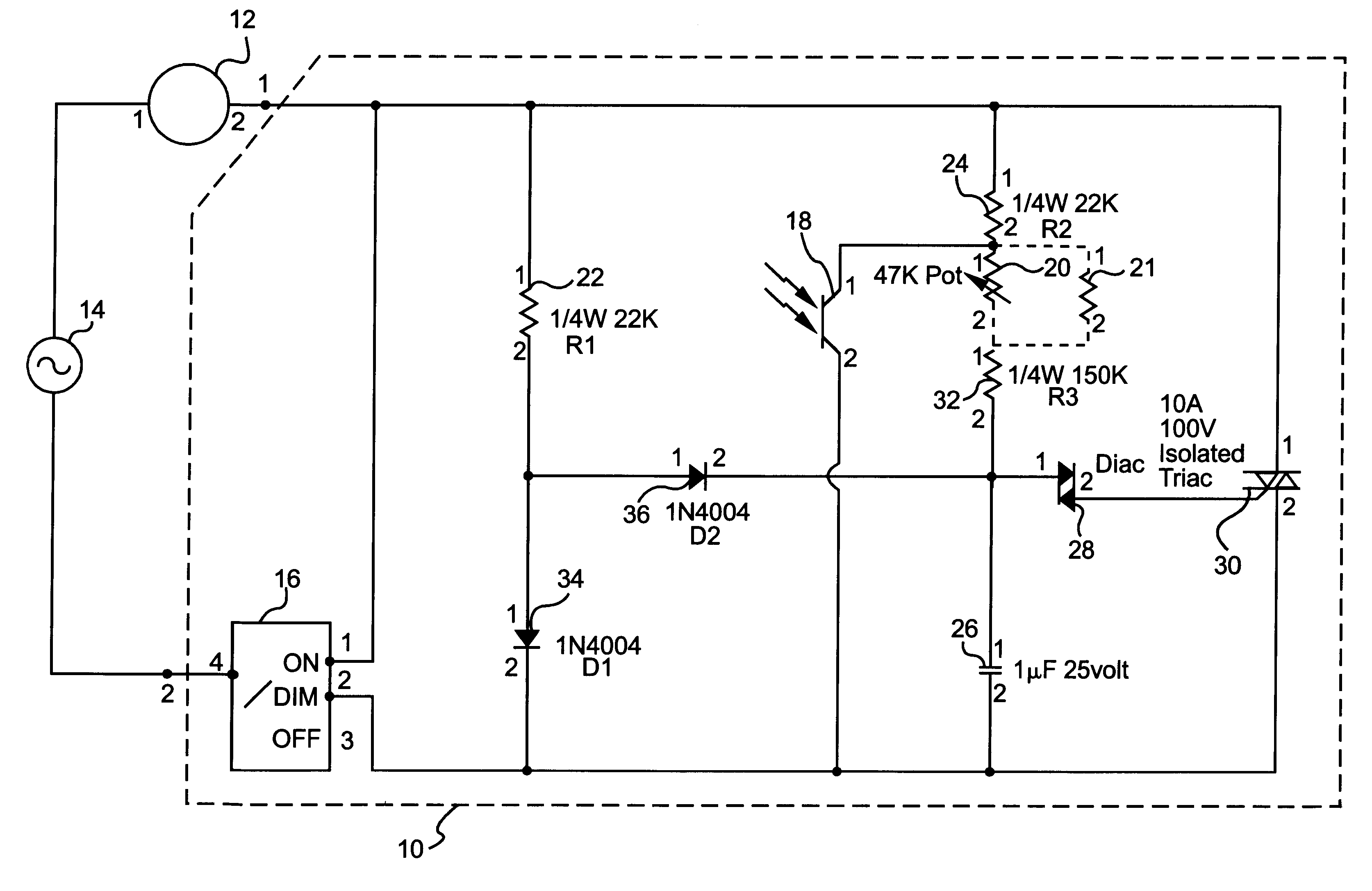 Patent Us6201351 Ceiling Fan With A Light Sensitive Circuit Diac Triac Phase Power Control Without Hysteresis Drawing