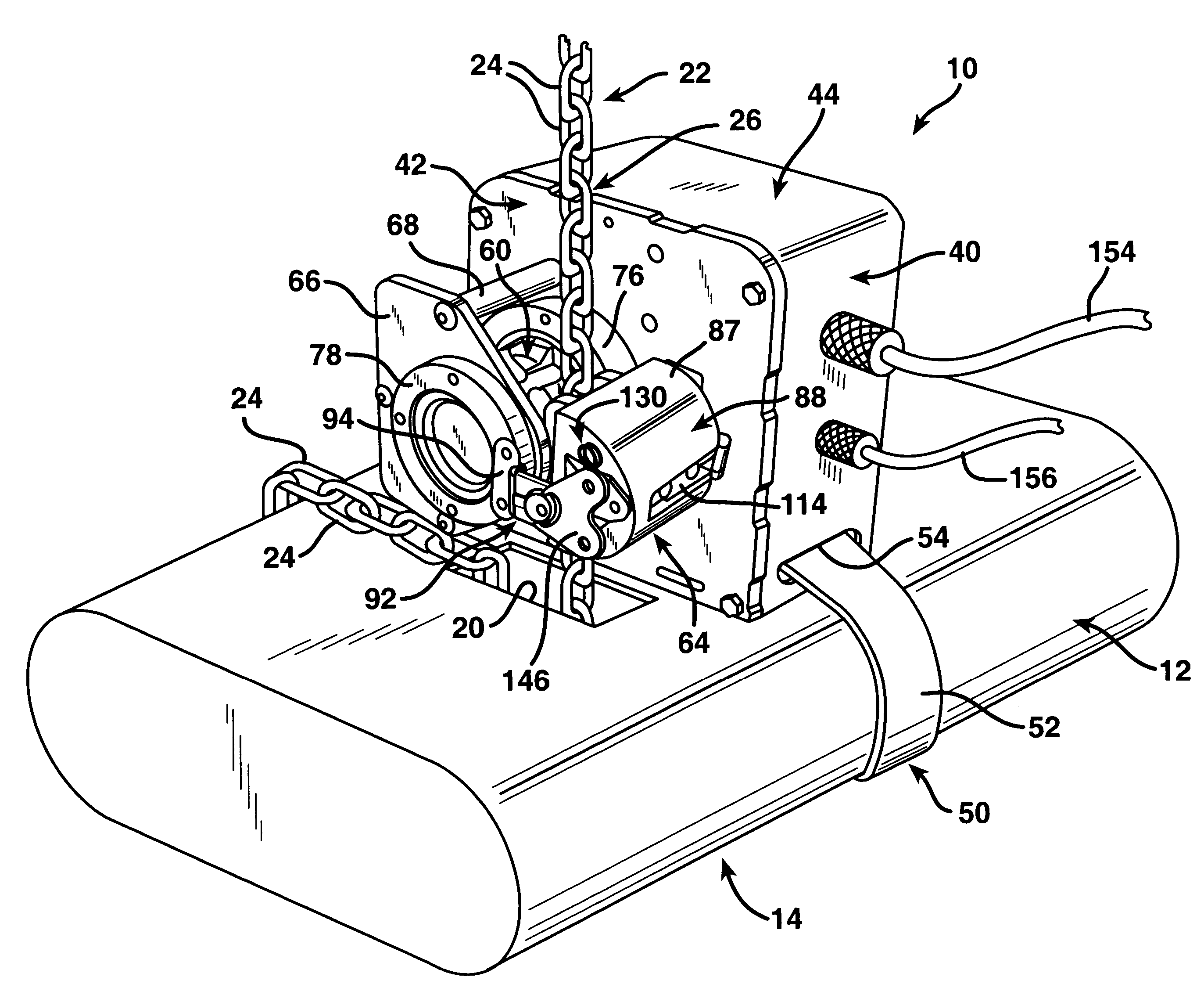 patent us6209852 removable chain hoist position encoder Yale Wiring Diagram patent drawing