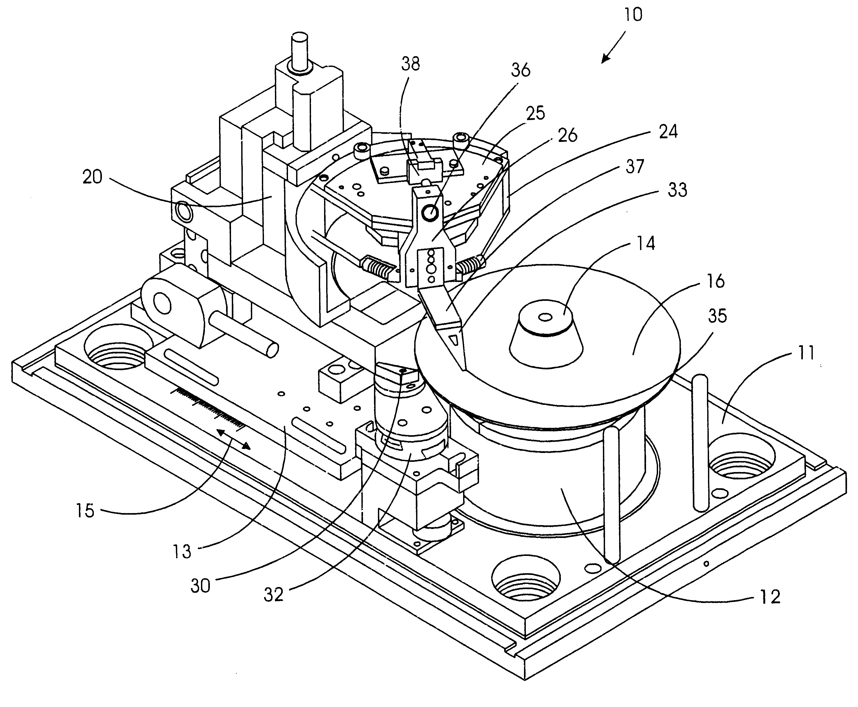 patent us6229664 head disk interface tester with optically servo Motion Control Connectors patent drawing
