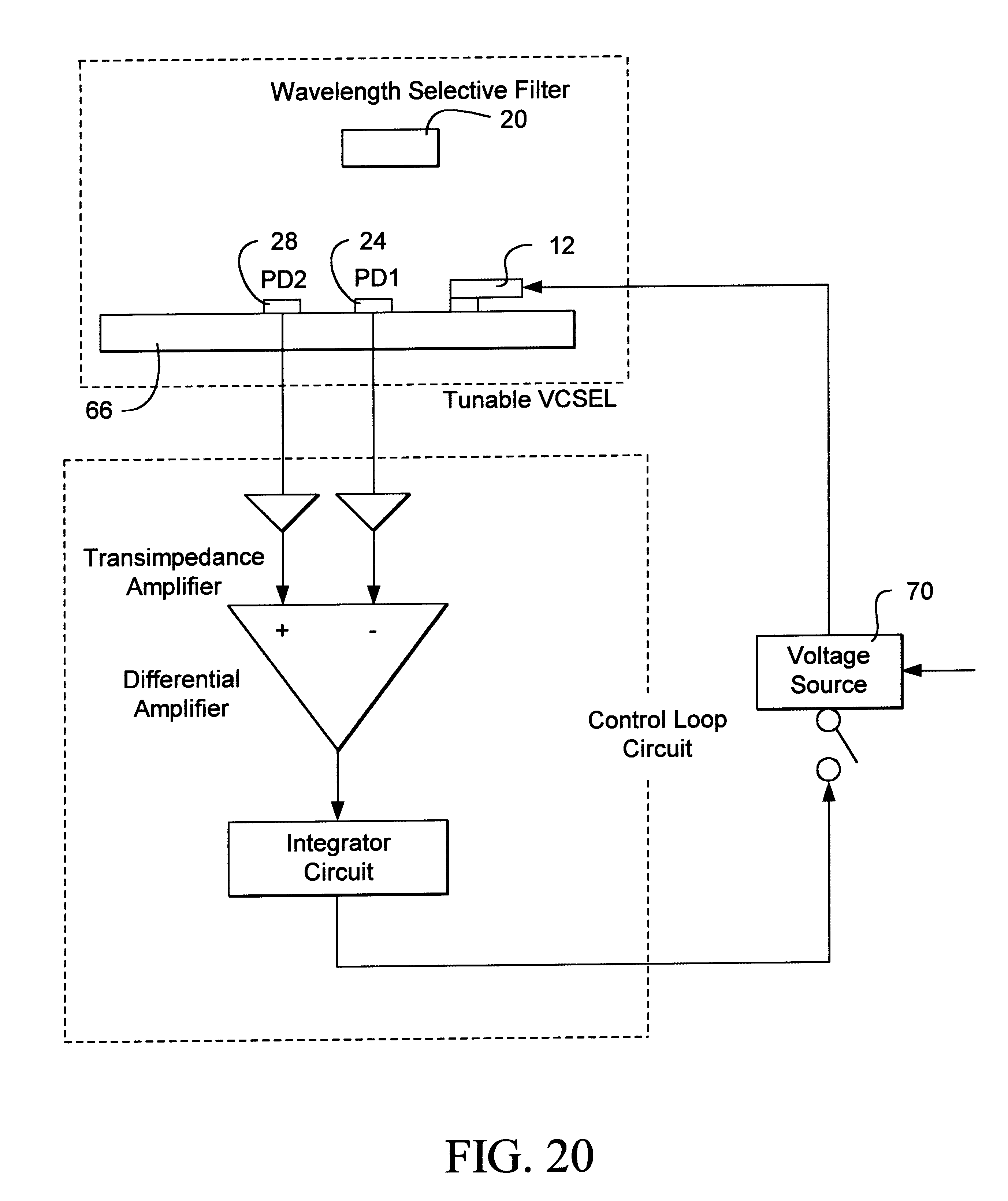 Patent Us6233263 Monitoring And Control Assembly For Wavelength Proposed Transimpedance Amplifier Schematic Drawing
