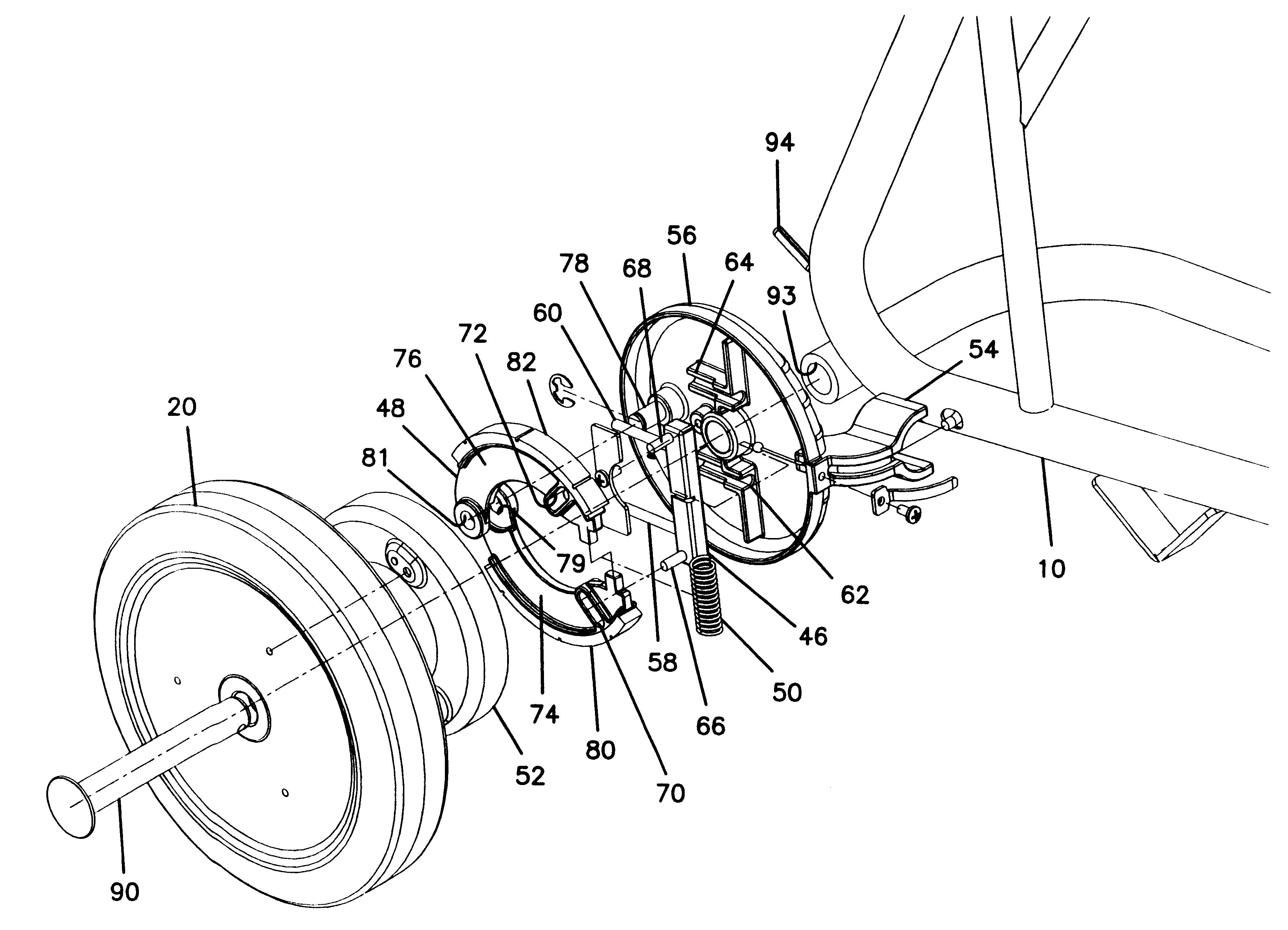 patent us6237725 - cart automatic brake mechanism