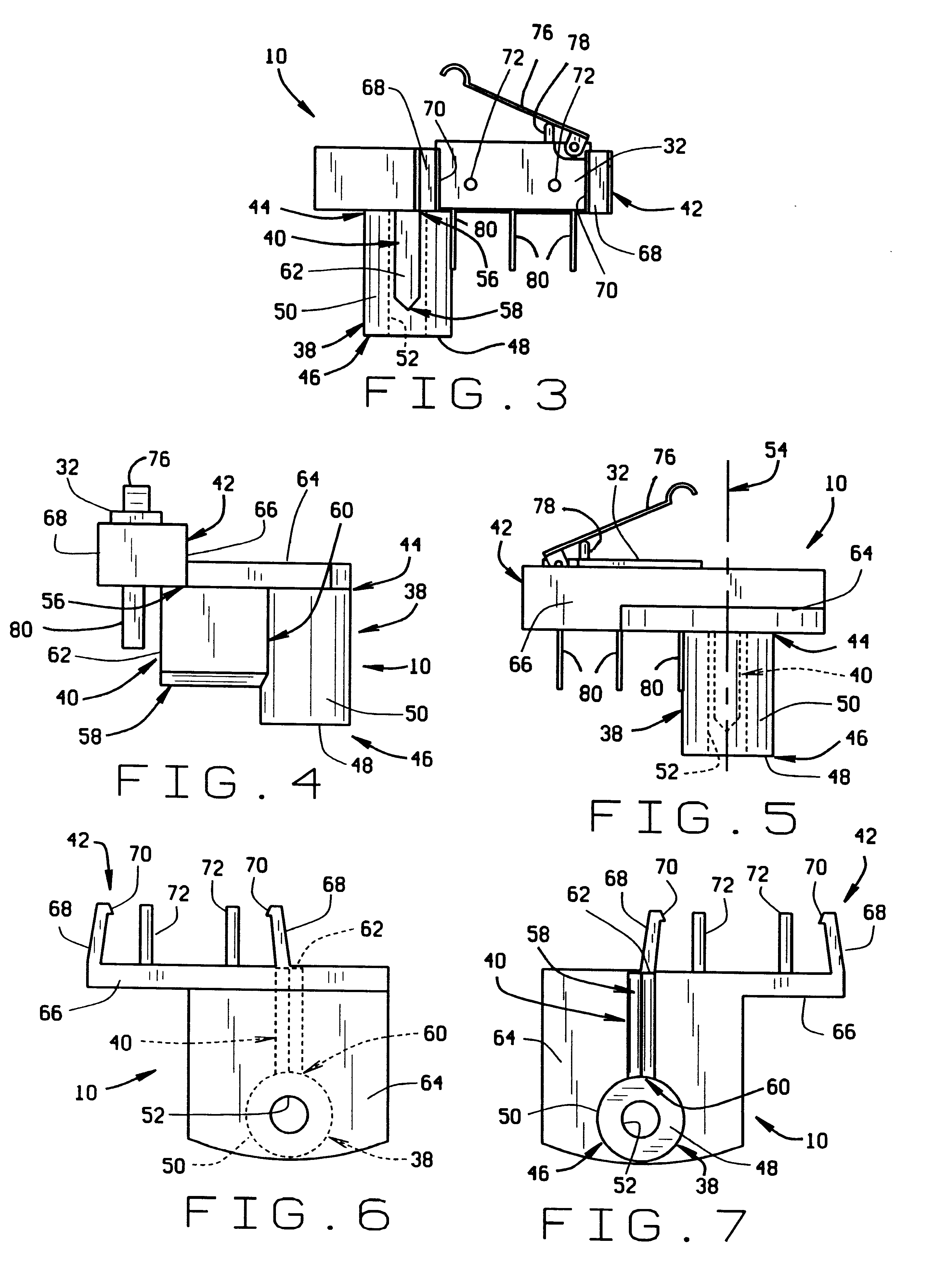 patent us6252174 - lead wire strain relief connector and switch mount