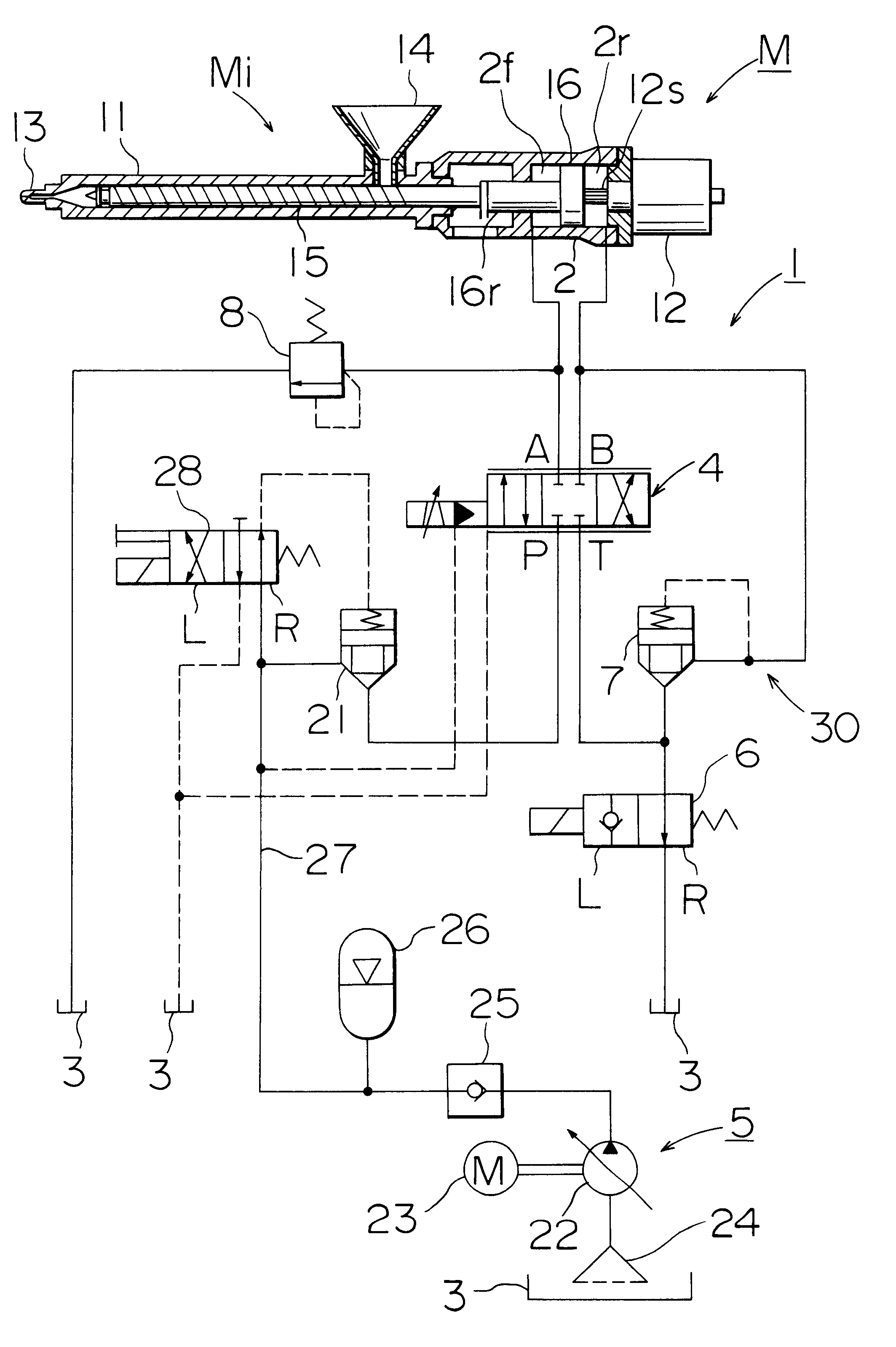 patent us6257859 - hydraulic circuit of an injection molding machine